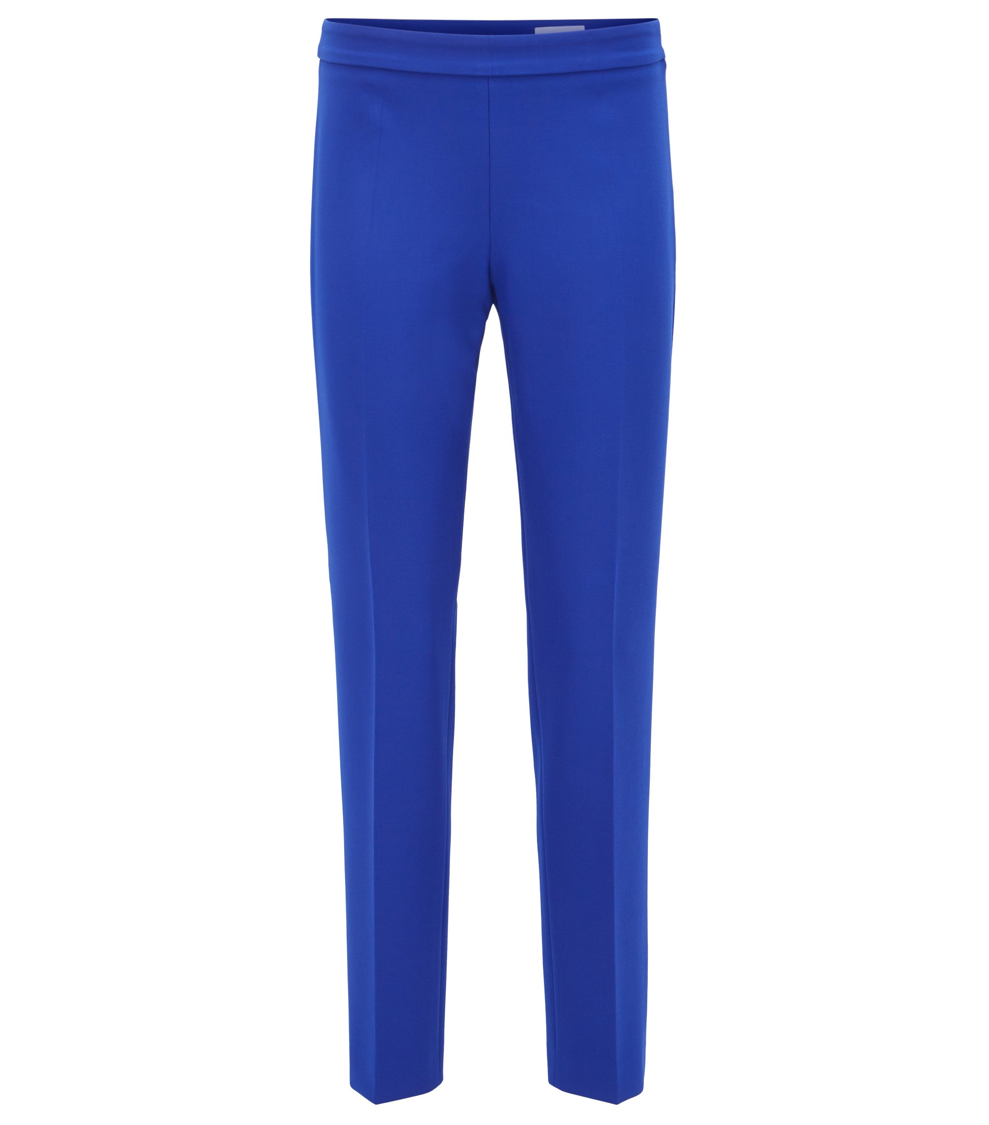 Cropped crepe trousers in a regular fit, Blue