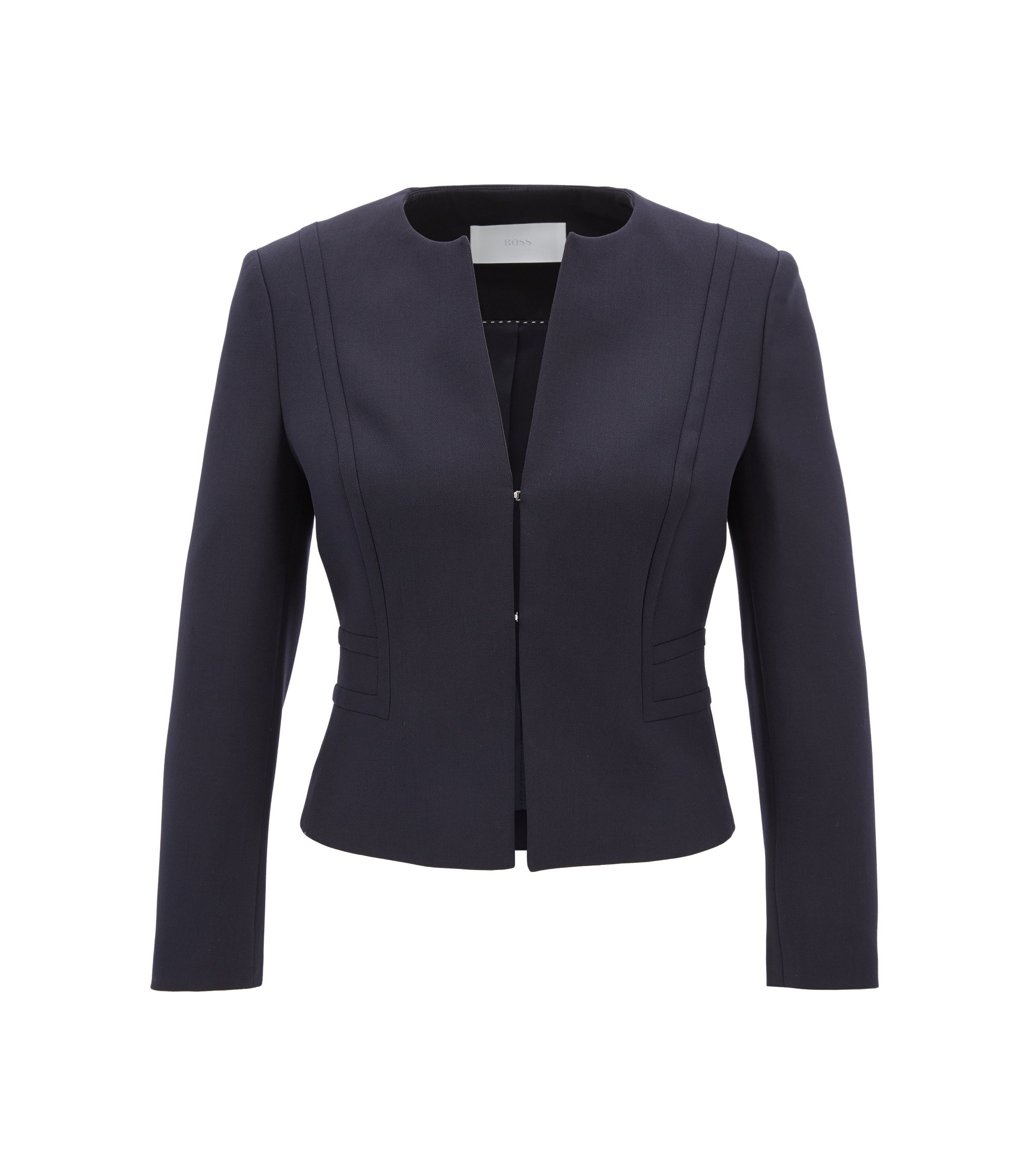 Collarless cropped jacket in stretch crêpe, Dark Blue