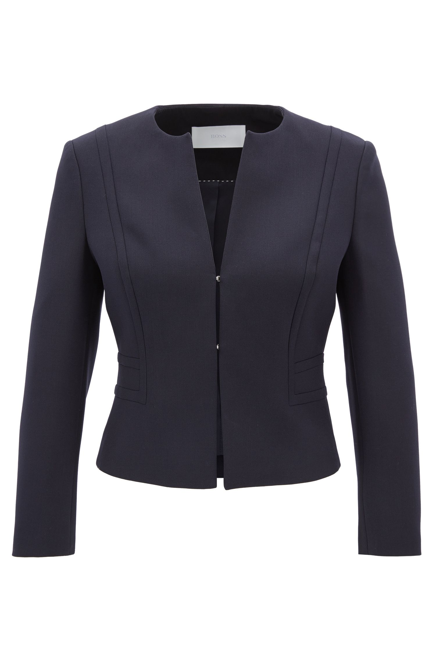 Collarless cropped jacket in stretch crêpe