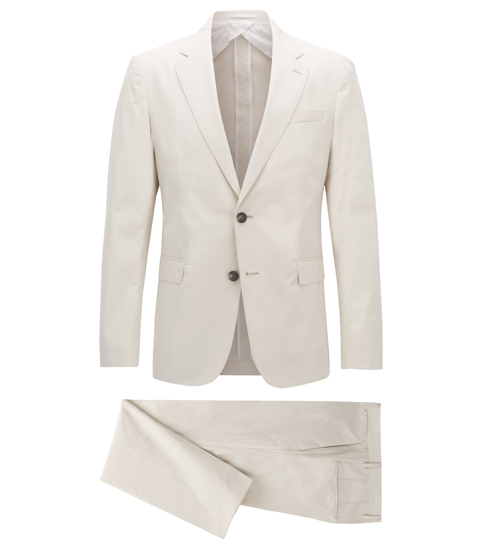 Slim-fit suit in paper-touch cotton poplin, Natural