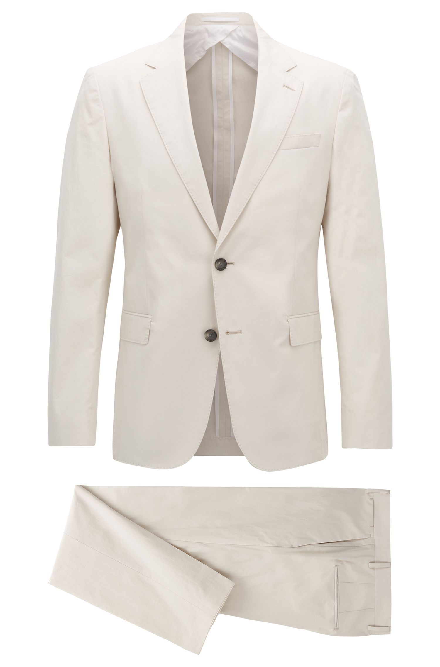 Slim-fit suit in paper-touch cotton poplin