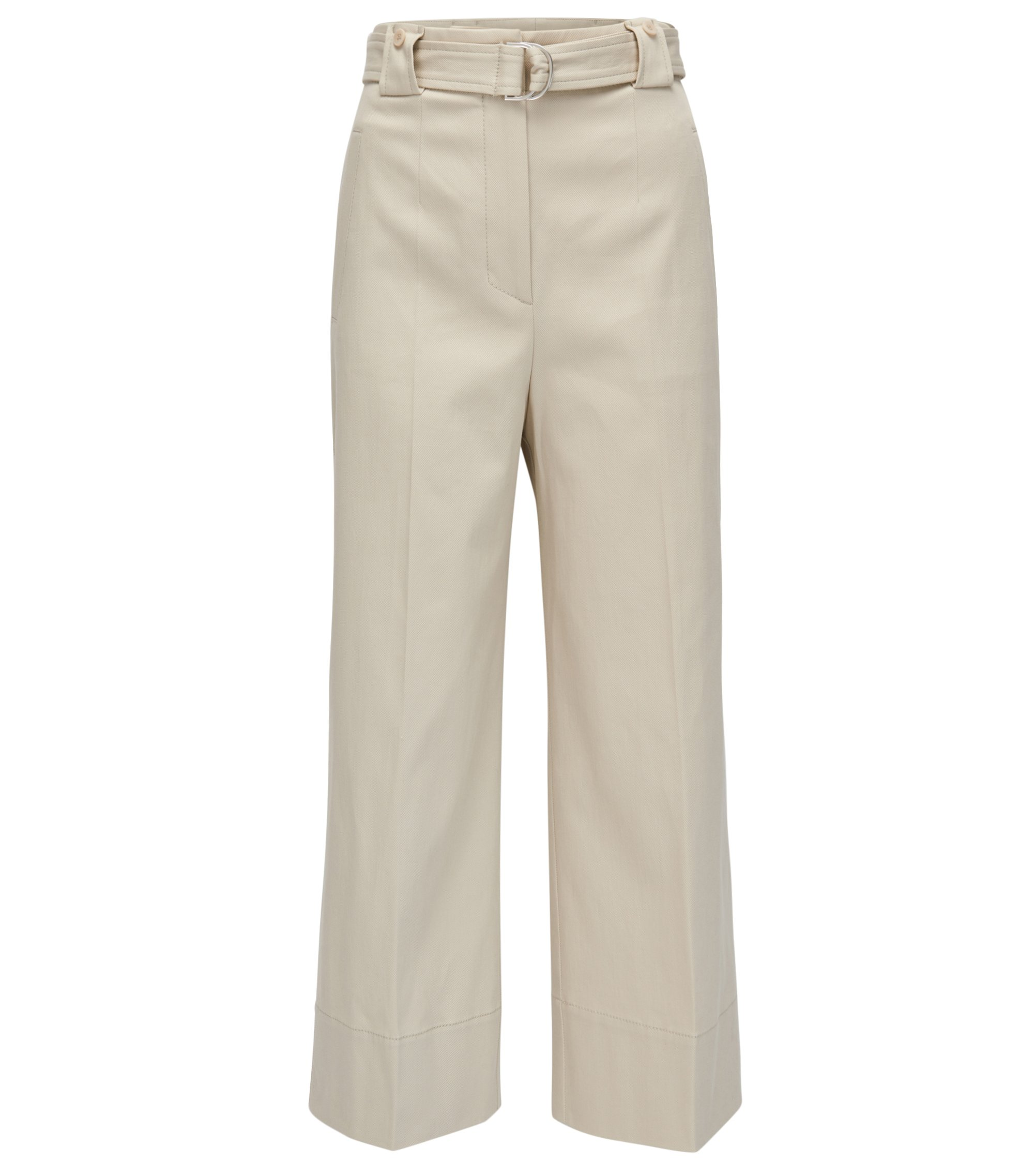Pantalon Regular Fit en coton stretch à jambes larges, Beige clair