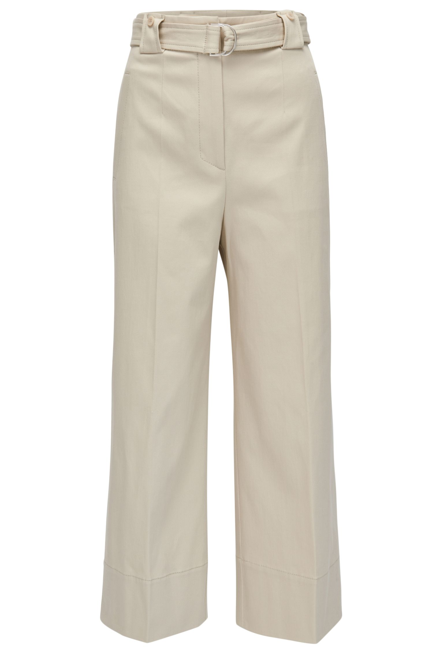 Wide-leg stretch-cotton trousers in a regular fit