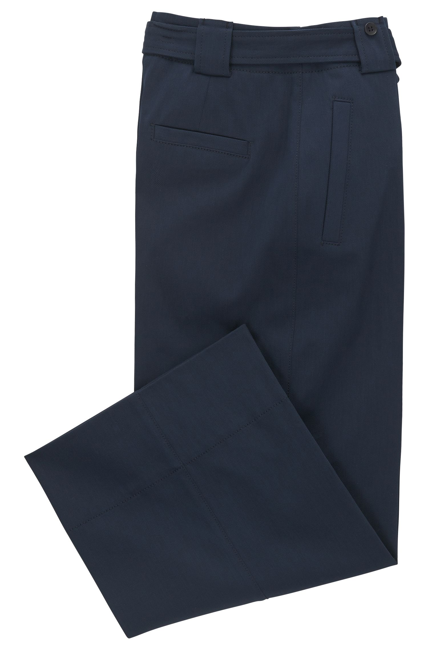 Pantaloni regular fit a gamba larga in cotone elasticizzato