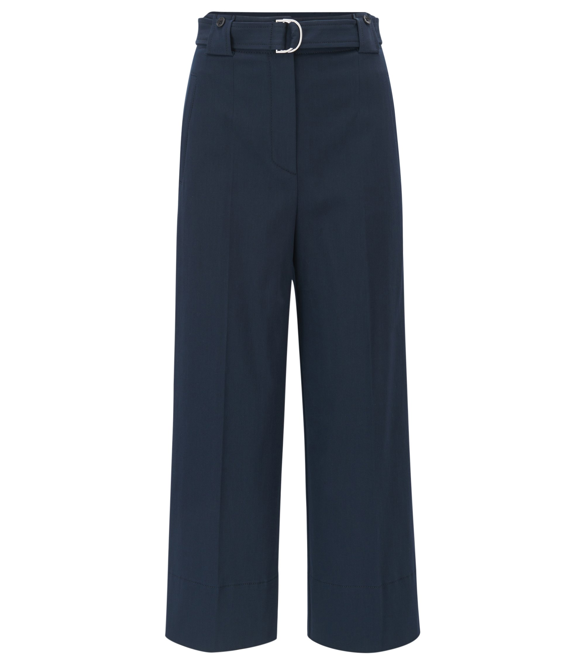 Wide-leg stretch-cotton trousers in a regular fit, Dark Blue