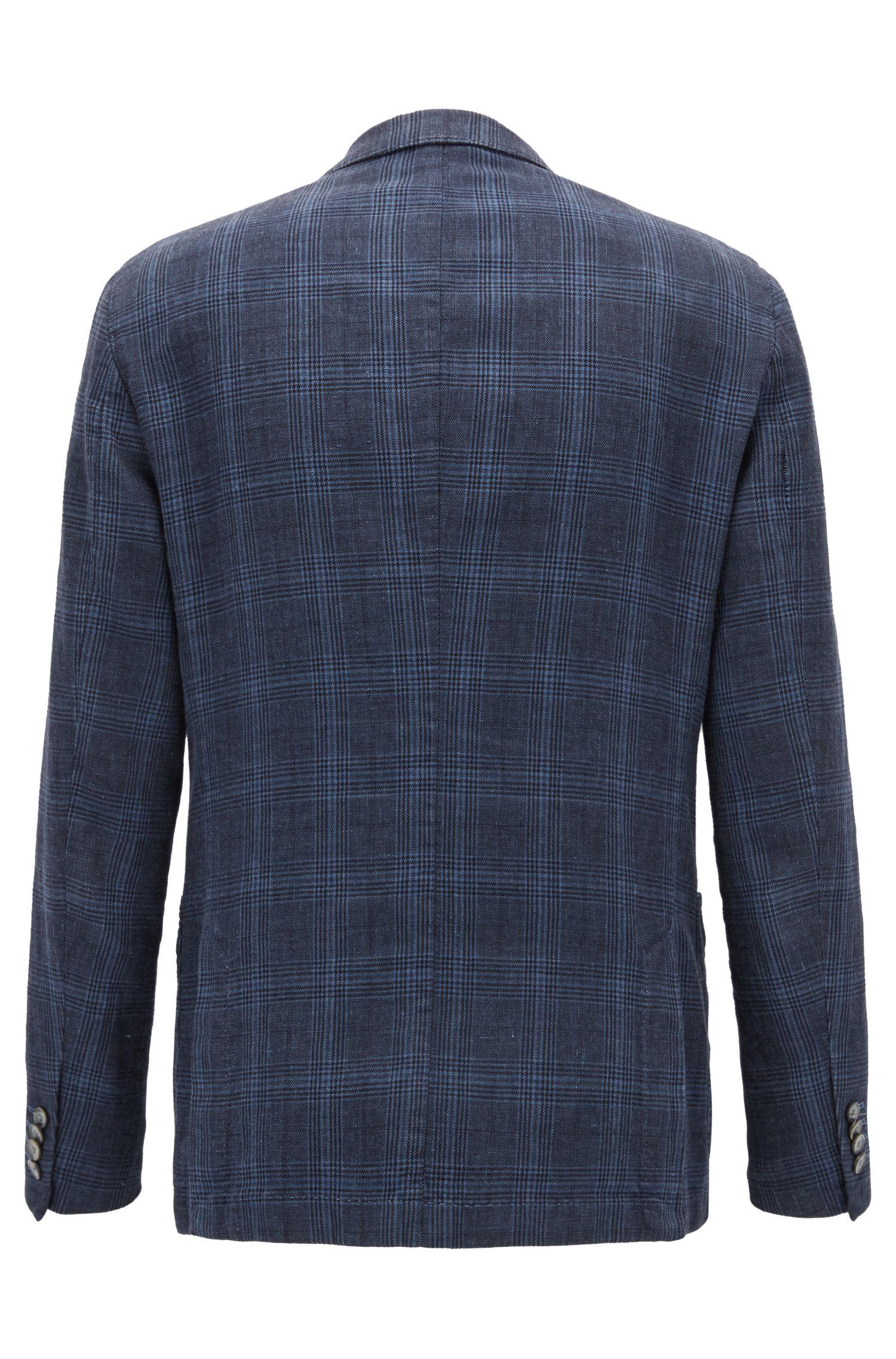 Slim-fit jacket in checked cotton and linen
