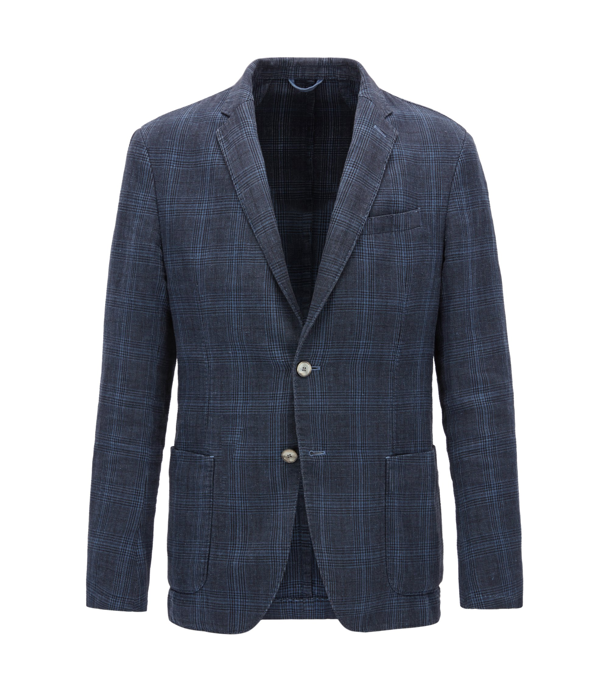 Slim-fit jacket in checked cotton and linen, Open Blue