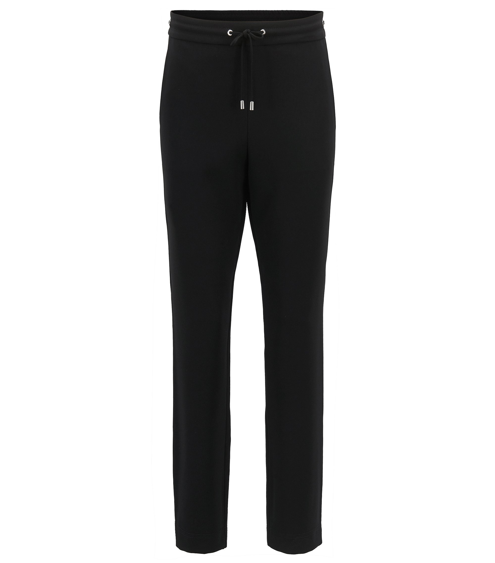 Athleisure-inspired cropped trousers in technical crêpe , Black