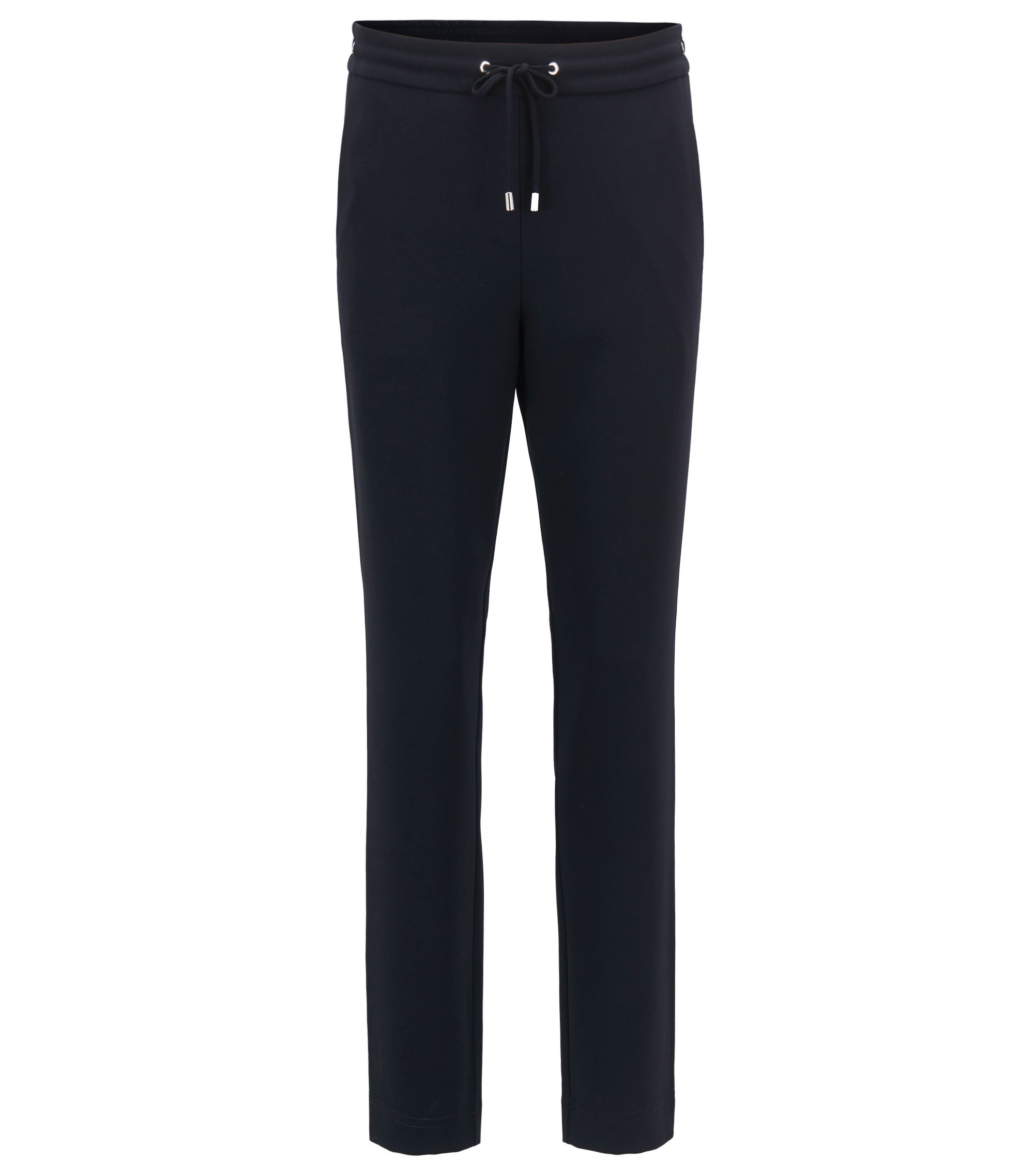 Athleisure-inspired cropped trousers in technical crêpe , Dark Blue