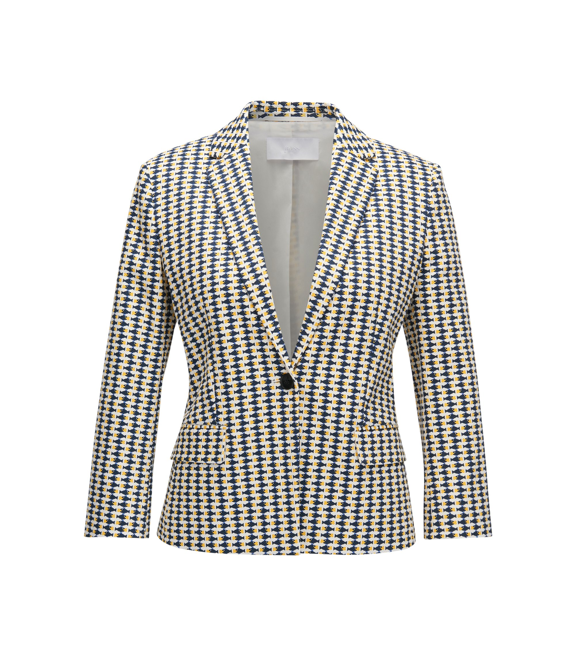 Regular-fit blazer in printed stretch-cotton, Patterned