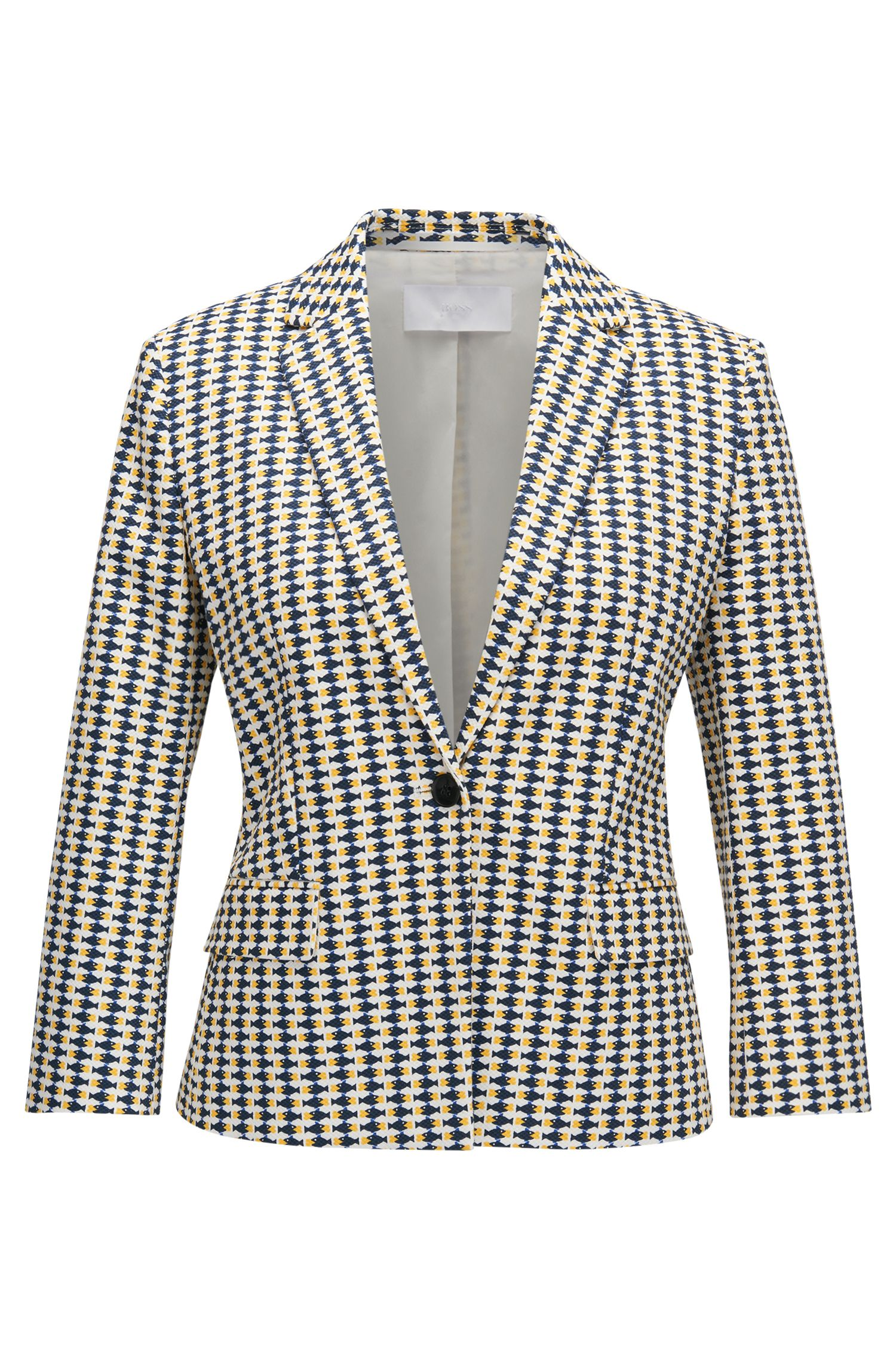 Regular-fit blazer in printed stretch-cotton