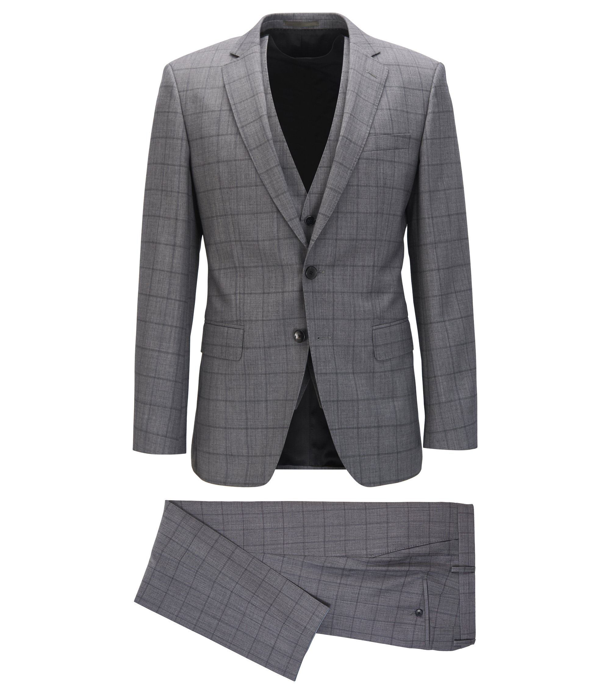 Slim-fit three-piece suit in plain-check virgin wool, Grey