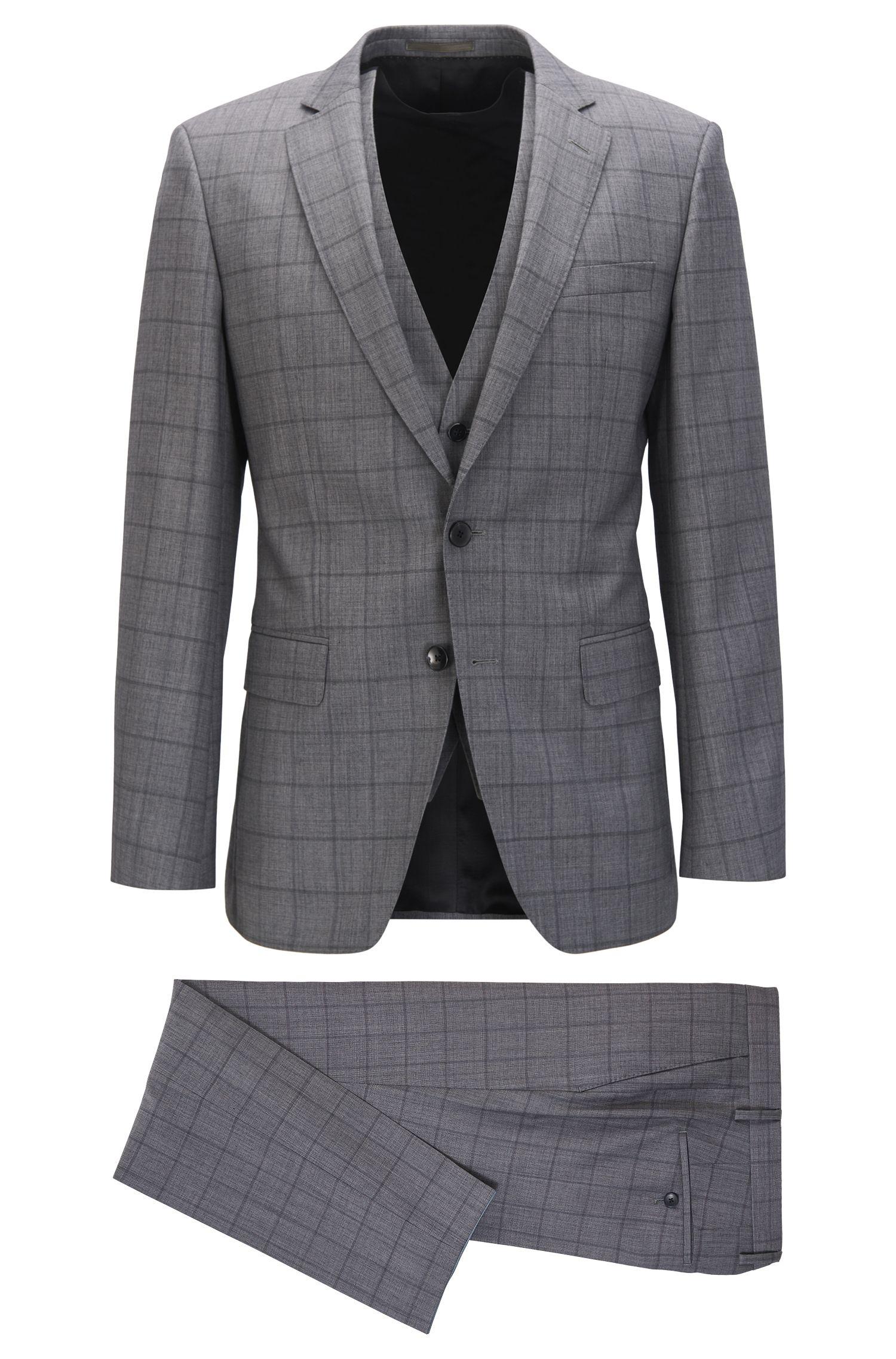 Slim-fit three-piece suit in plain-check virgin wool