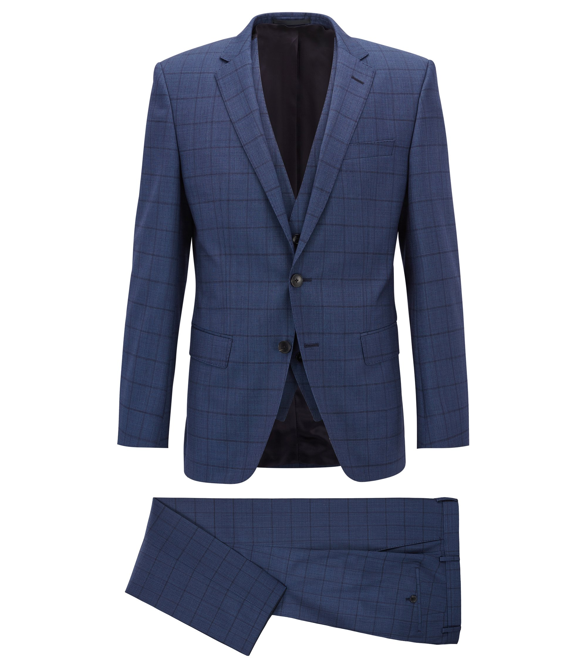 Slim-fit three-piece suit in plain-check virgin wool, Blue