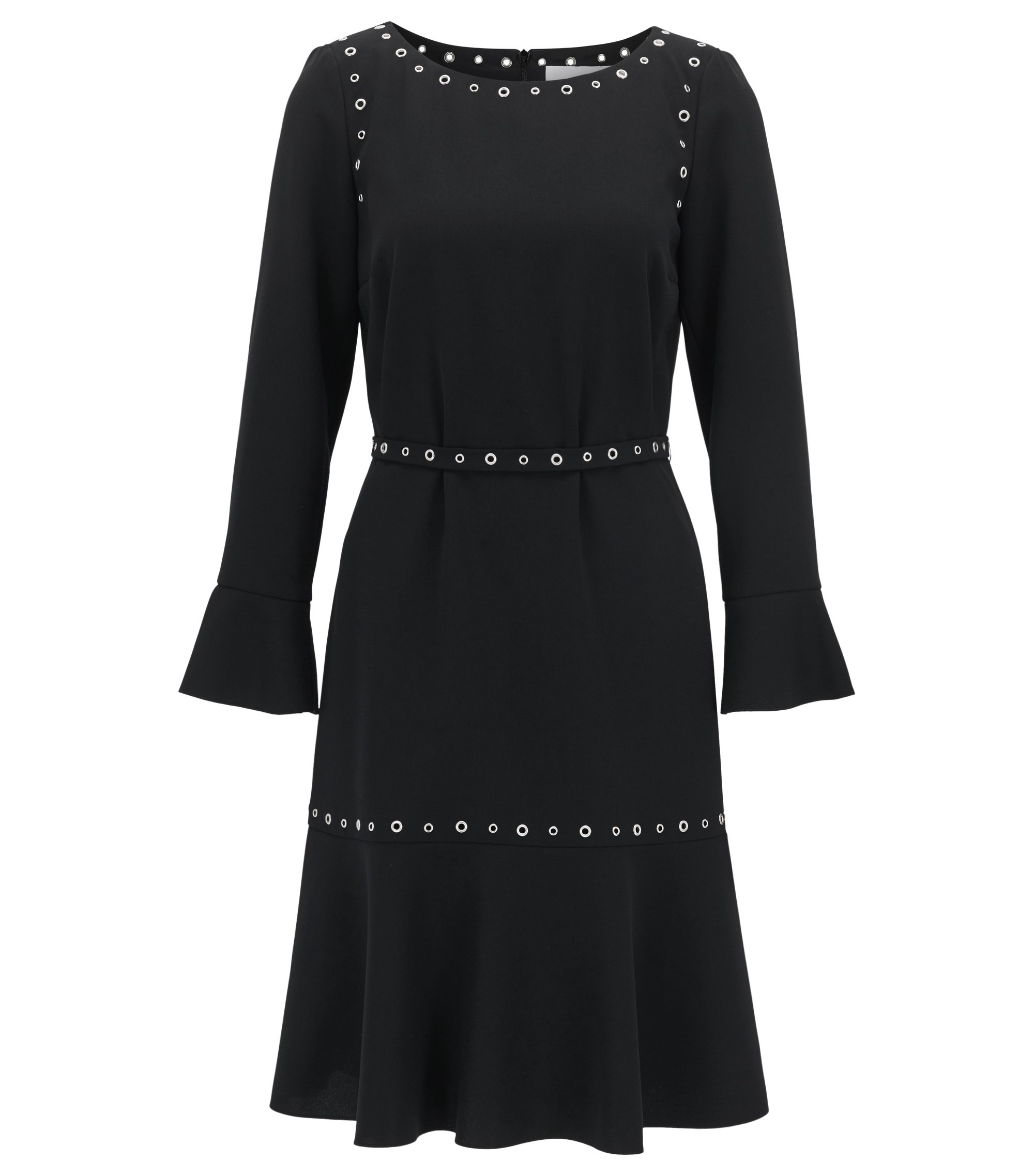 Long-sleeved crêpe dress with hardware details, Black