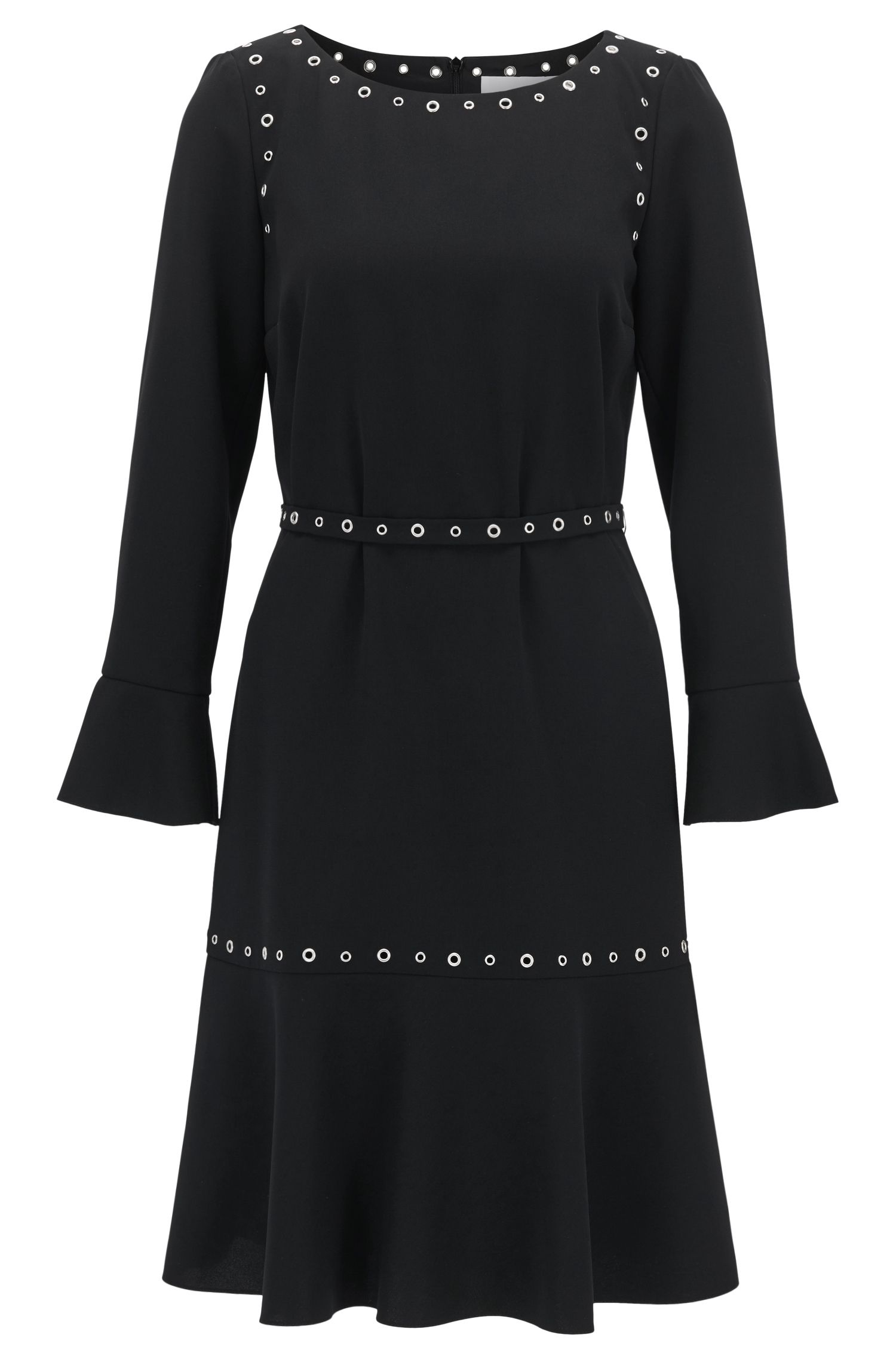 Long-sleeved crêpe dress with hardware details