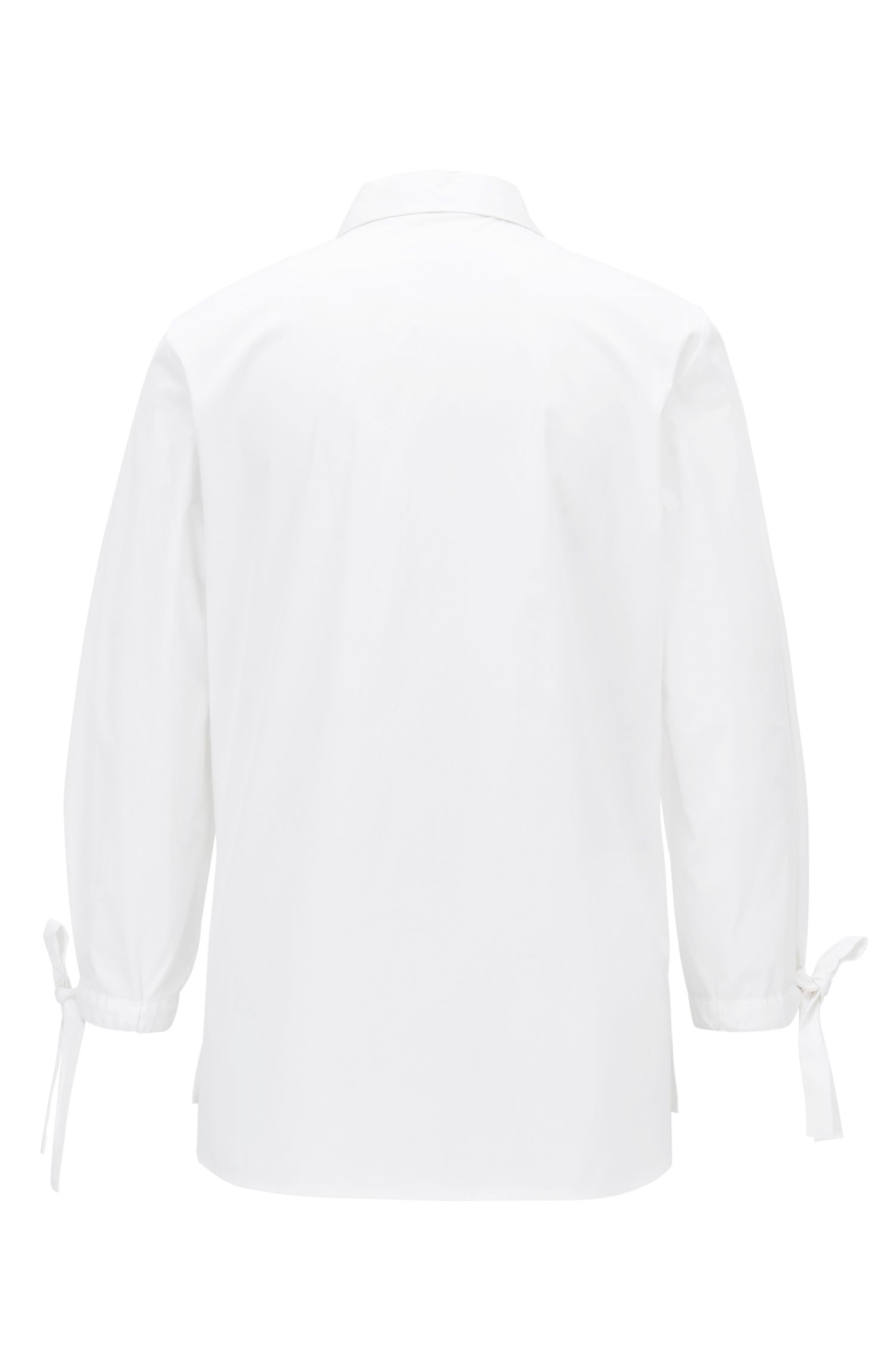 Stretch-cotton blouse with bow-detail sleeves