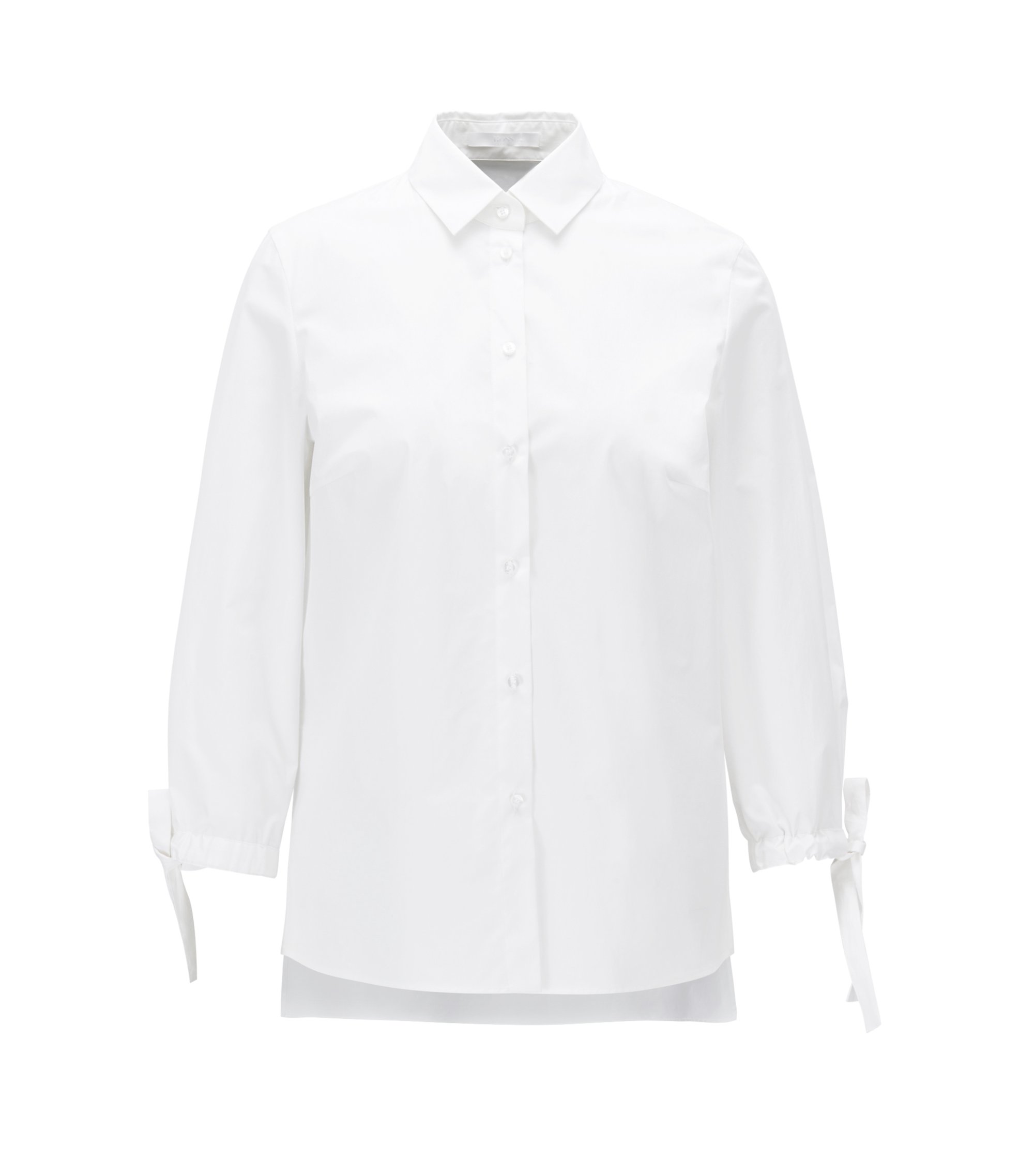 Stretch-cotton blouse with bow-detail sleeves, White