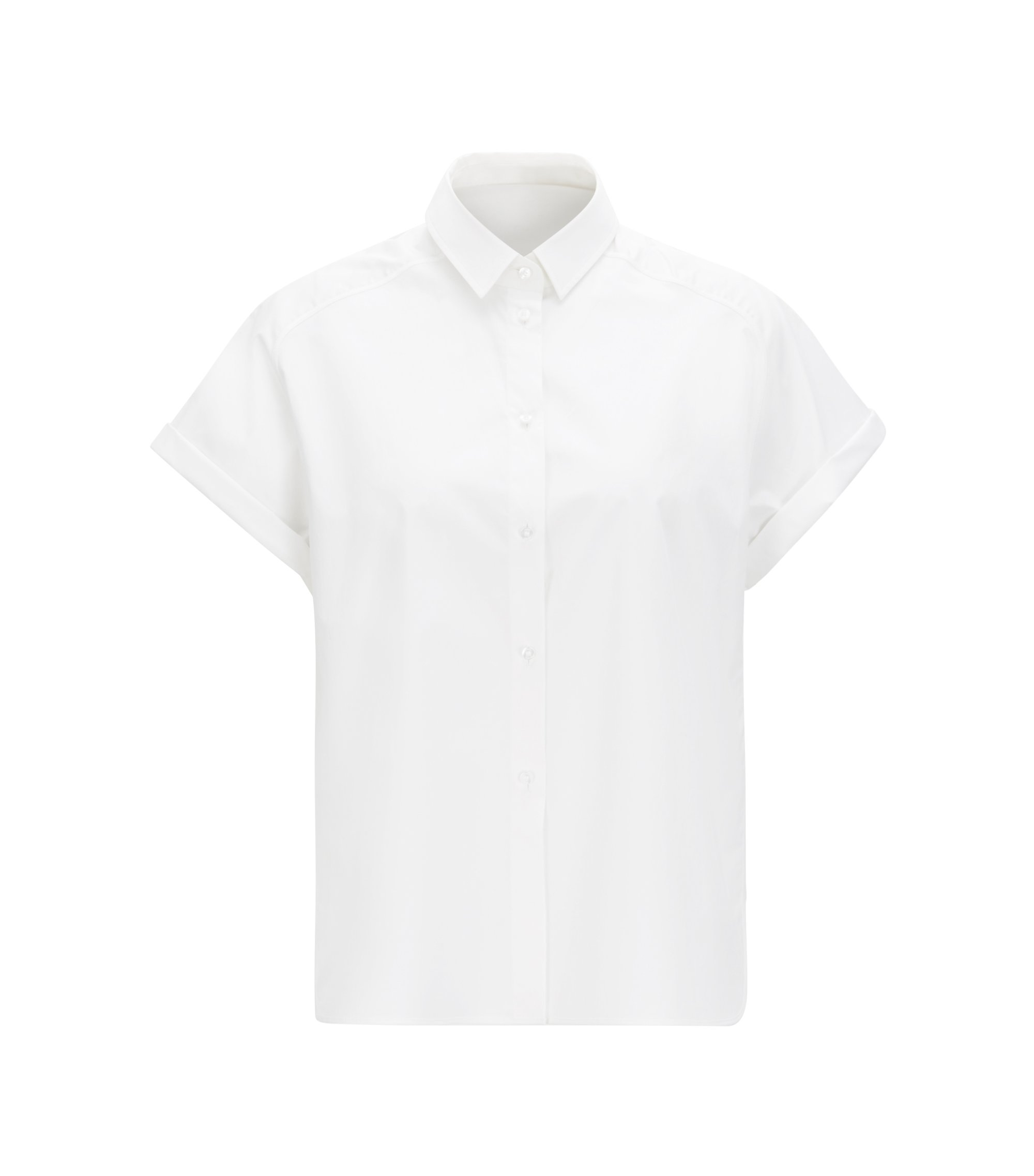 Chemisier Relaxed Fit en doux coton stretch , Blanc