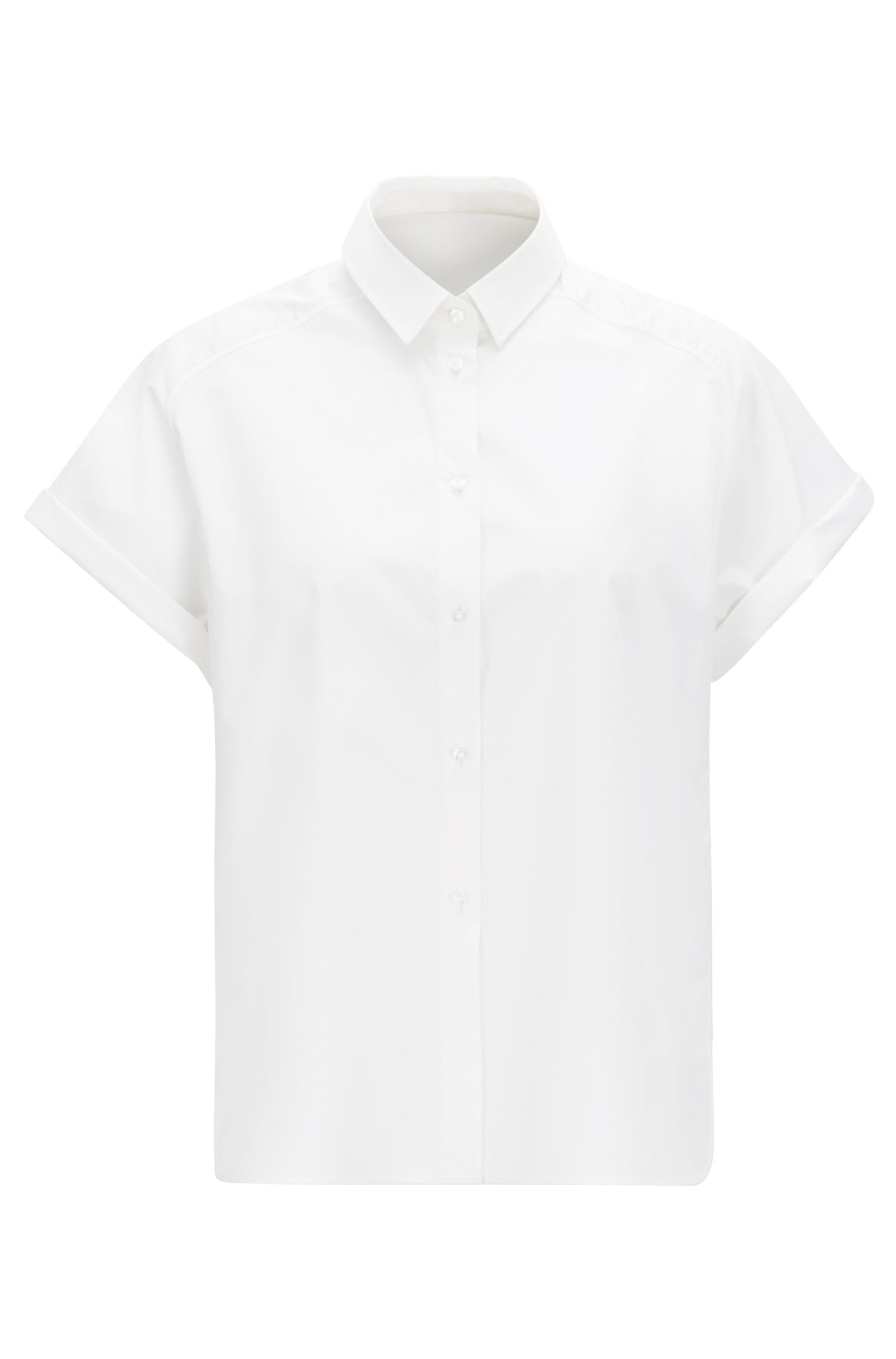 Relaxed-fit blouse in soft stretch cotton