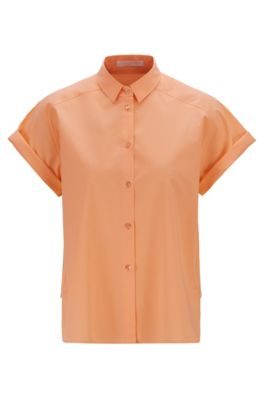 Relaxed-Fit Bluse aus elastischer Baumwolle , Orange