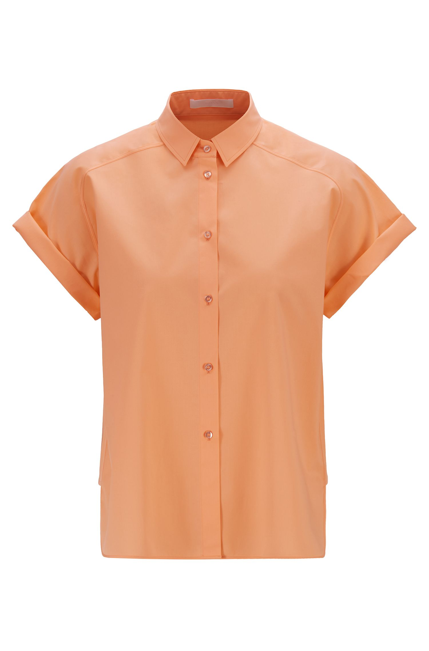 Relaxed-fit blouse in soft stretch cotton , Orange