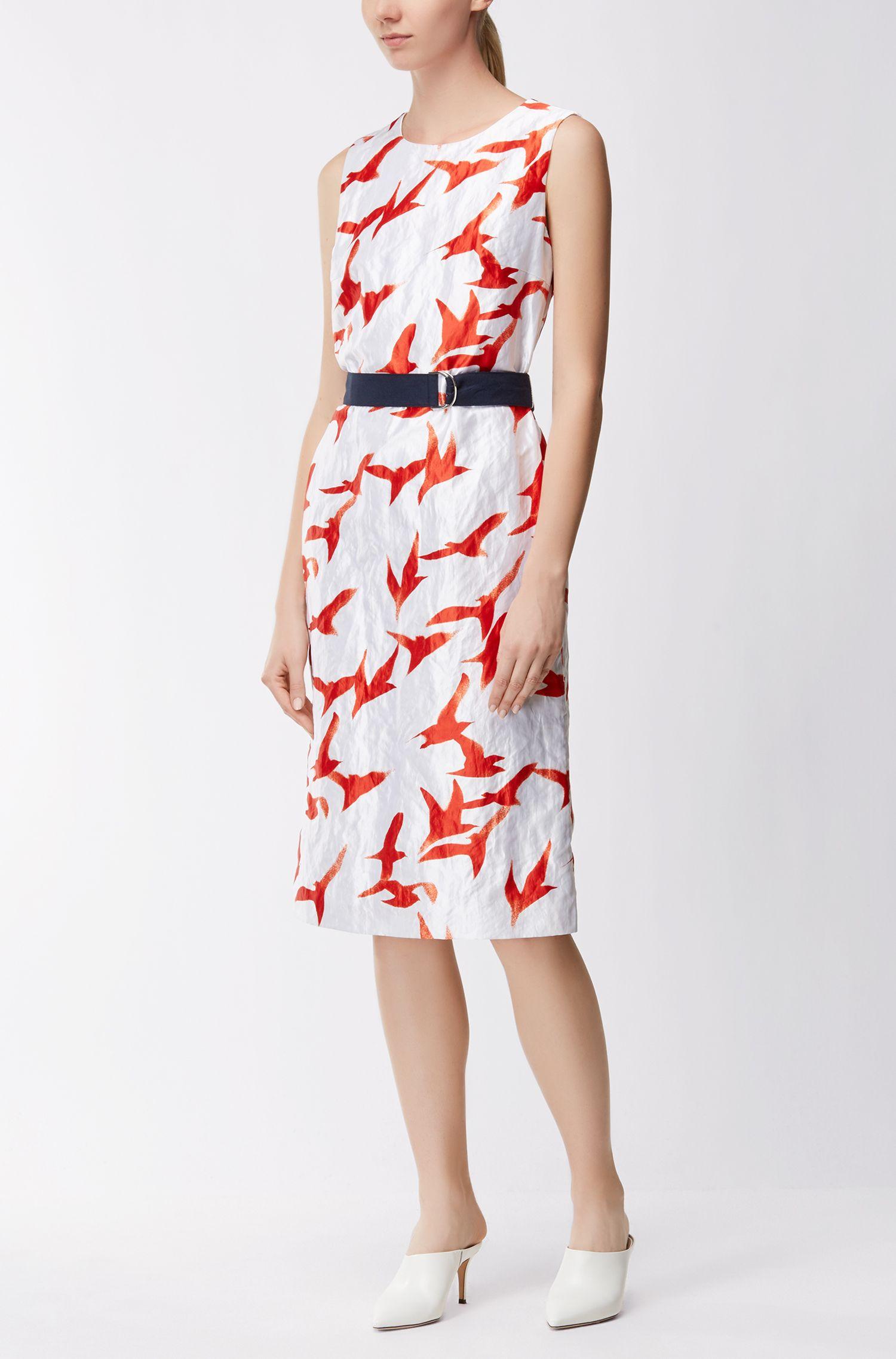 Twill shift dress with seagull print BOSS