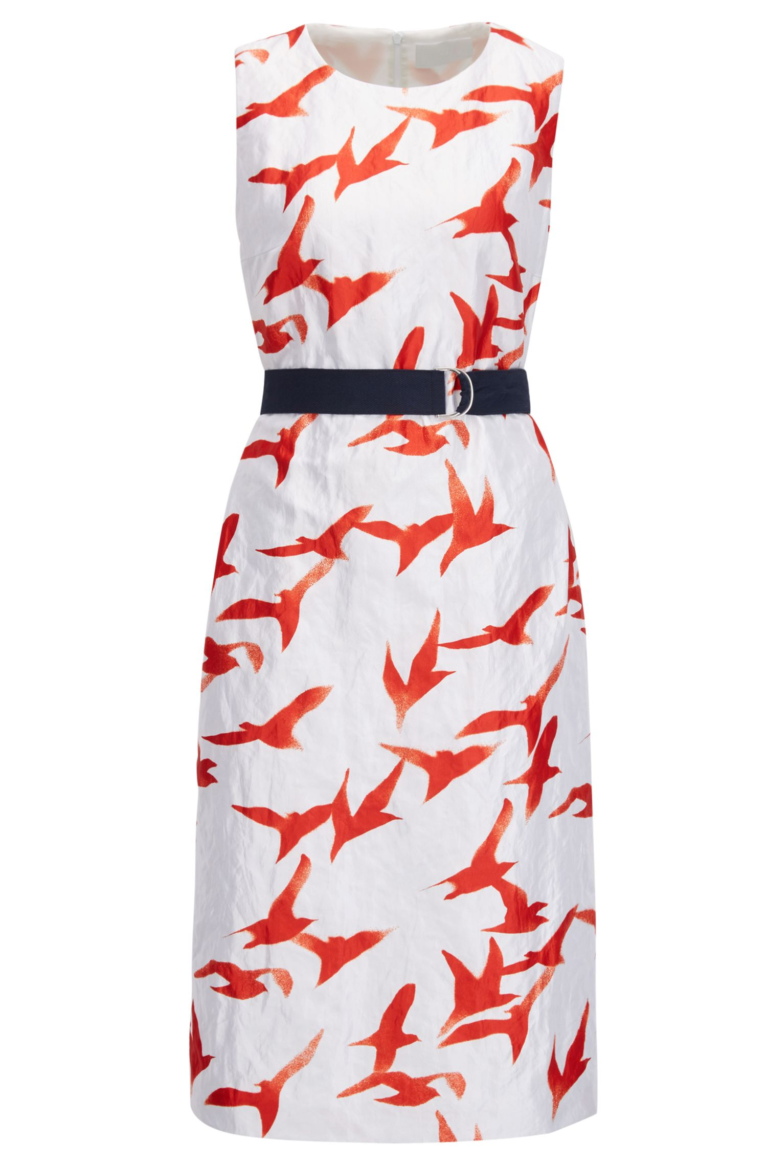 Twill shift dress with seagull print