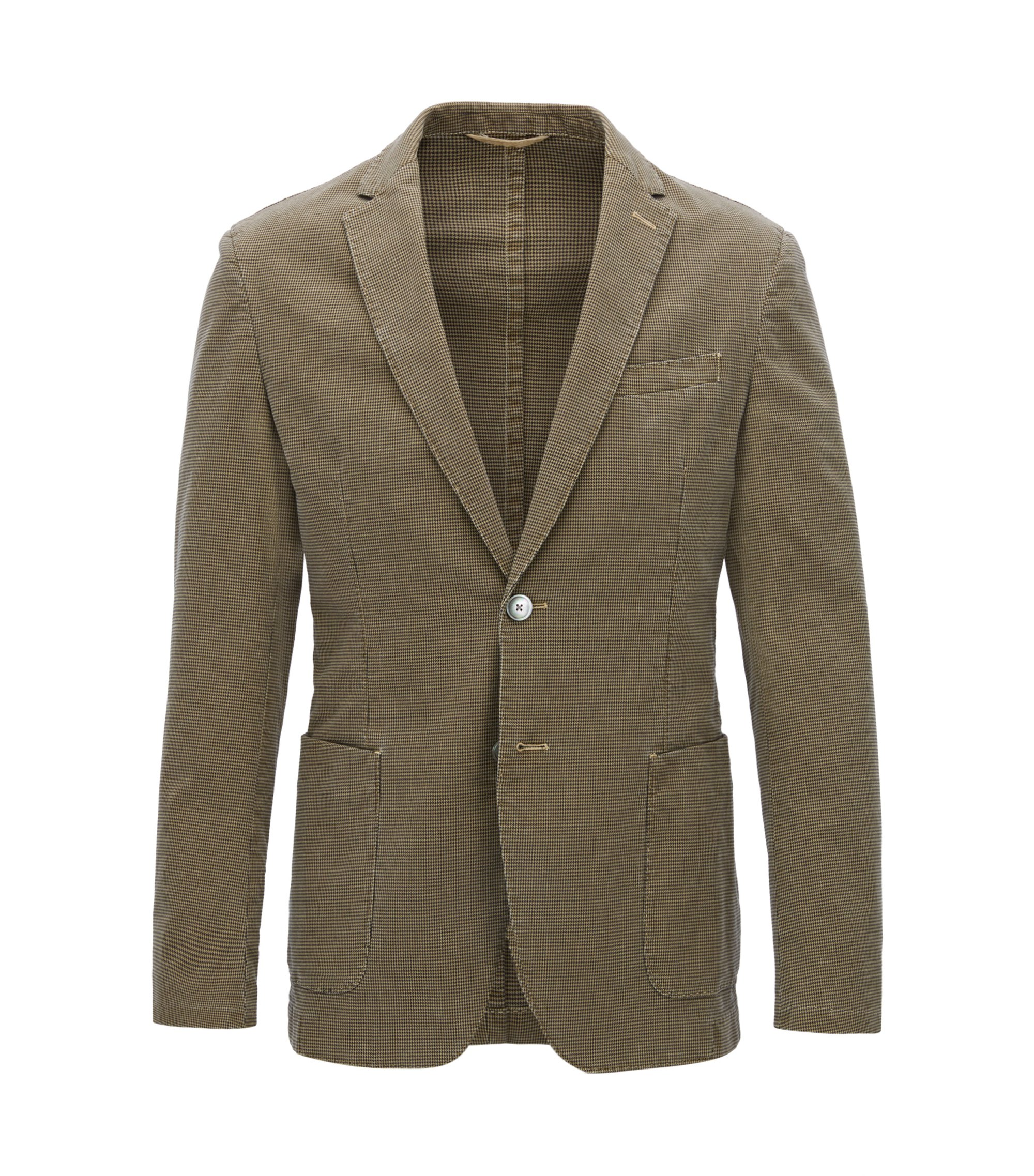 Slim-fit jacket in houndstooth stretch cotton, Beige