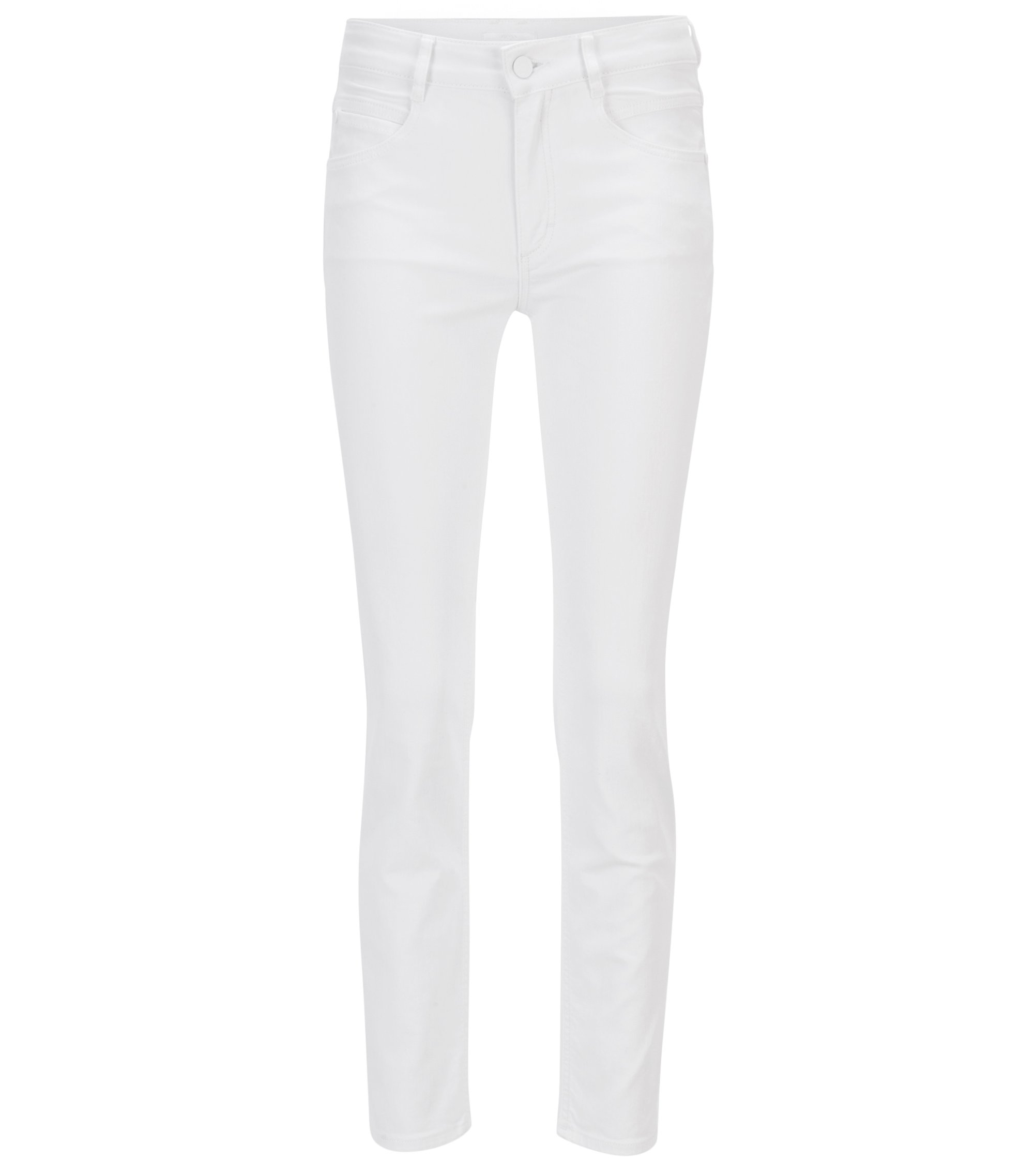 Regular-fit cropped jeans in comfort-stretch denim, White