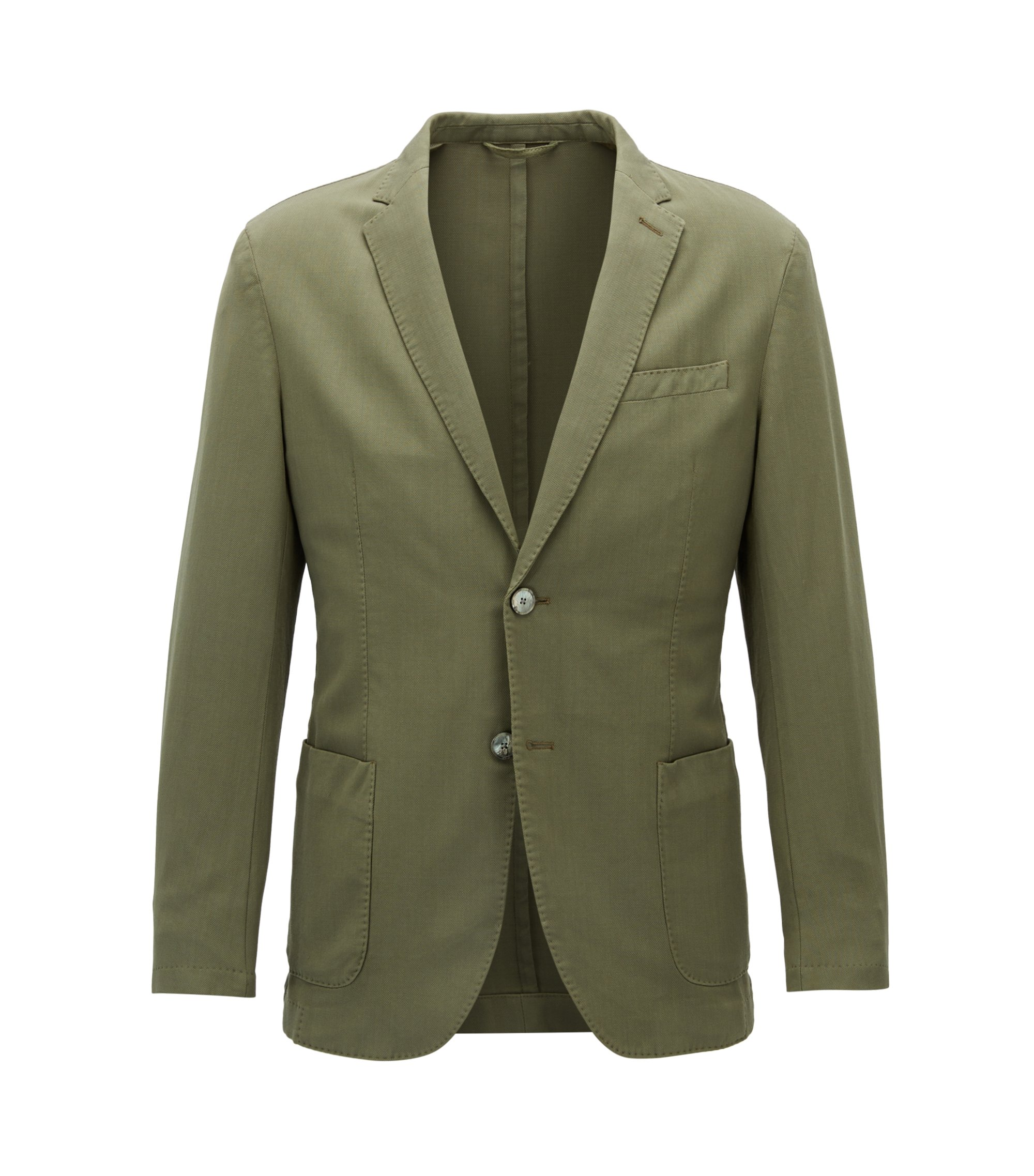 Slim-fit garment-dyed jacket in virgin wool, Open Green