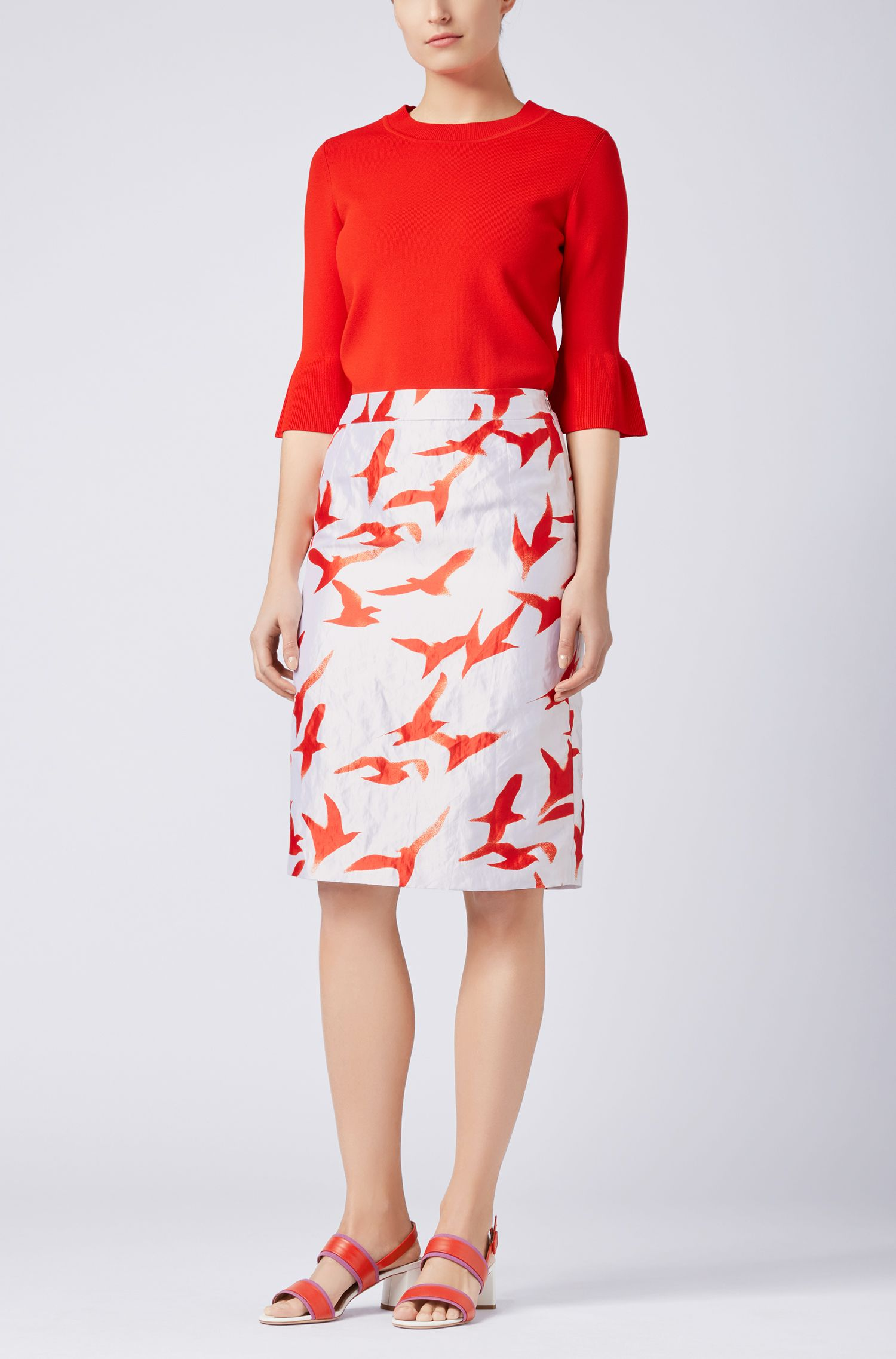 Metallic-twill pencil skirt with seagull print
