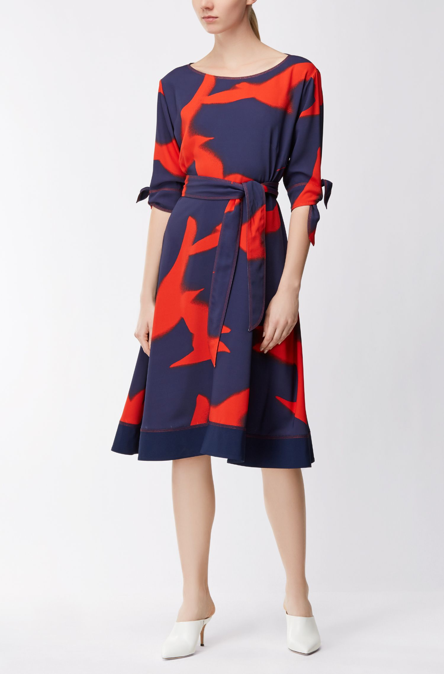 Silky belted dress with seagull print