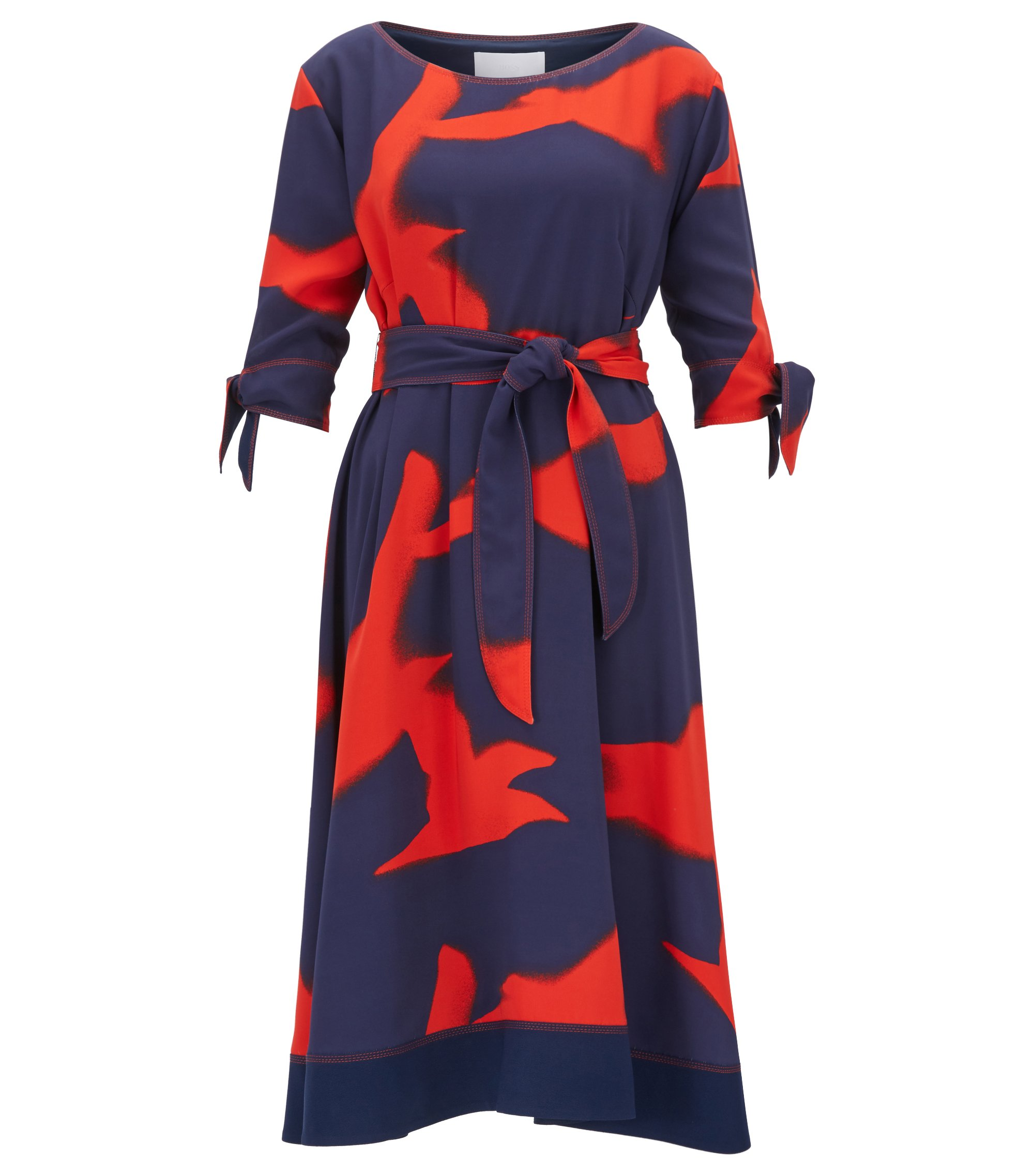 Silky belted dress with seagull print, Patterned