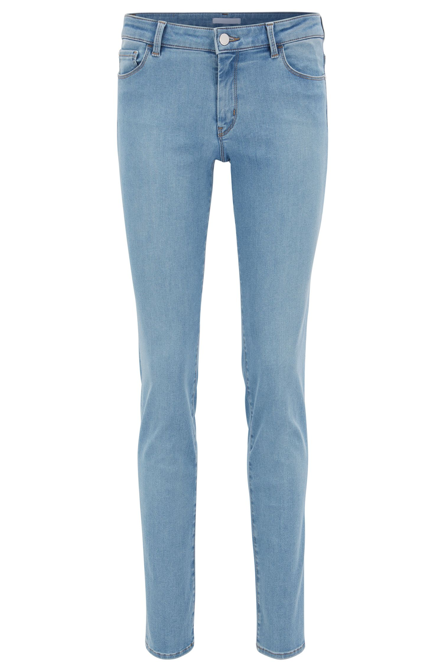 Regular-fit jeans van felblauw super-stretchdenim