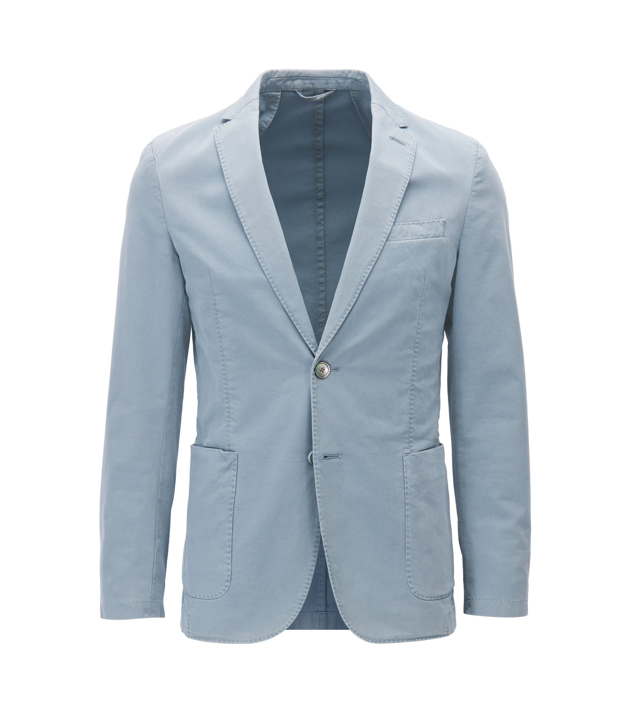 Slim-fit jacket in garment-dyed stretch cotton, Grey
