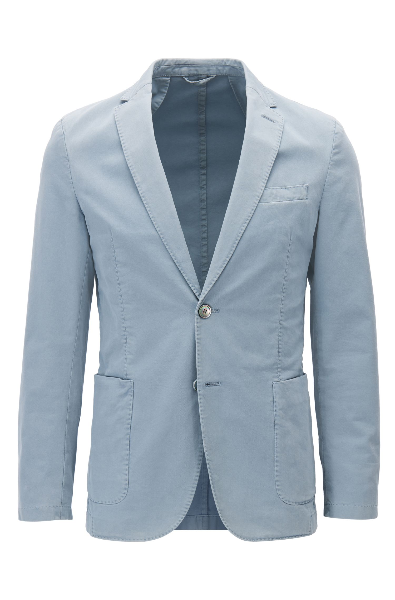 Slim-fit jacket in garment-dyed stretch cotton