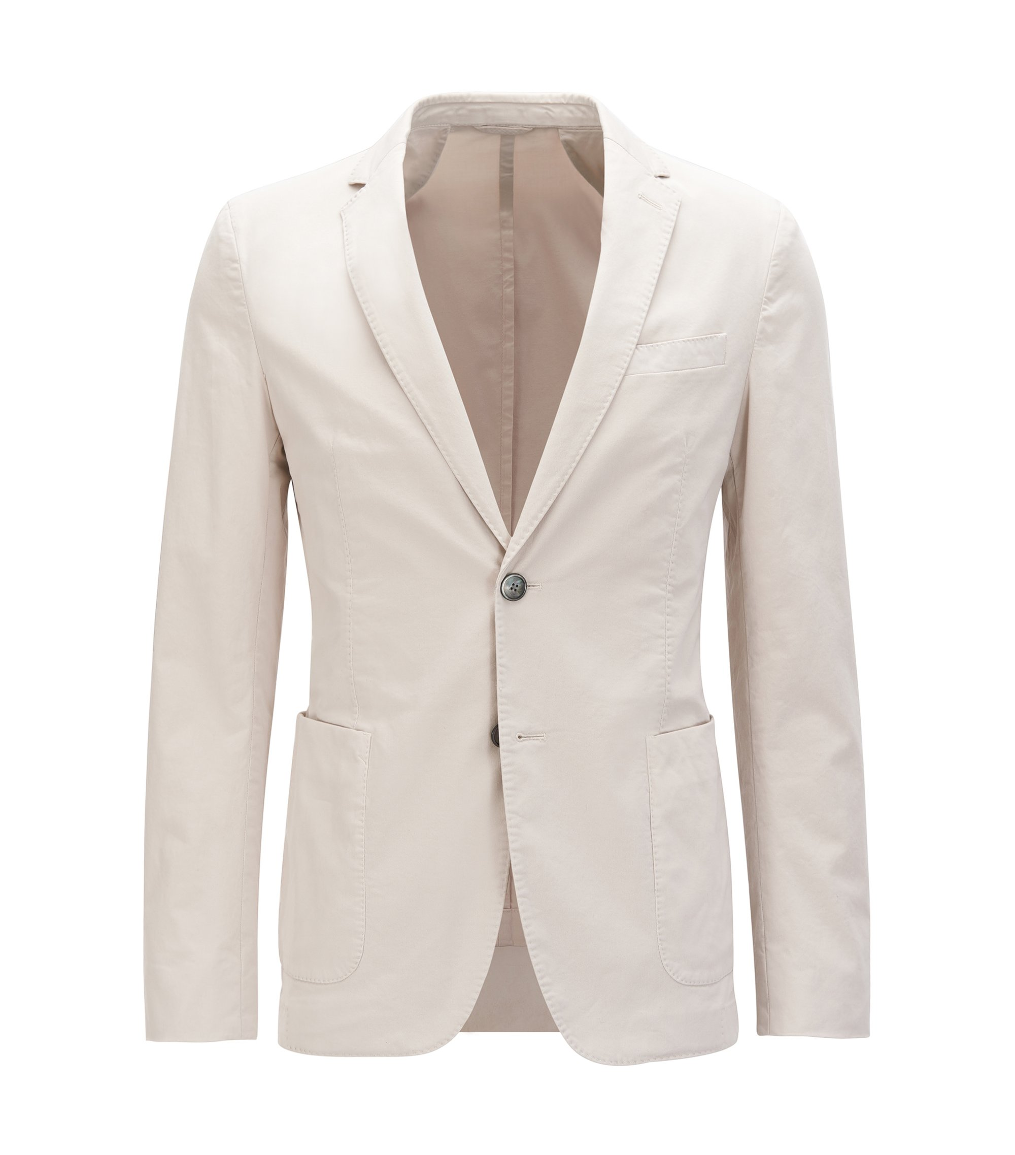 Slim-fit jacket in garment-dyed stretch cotton, Natural