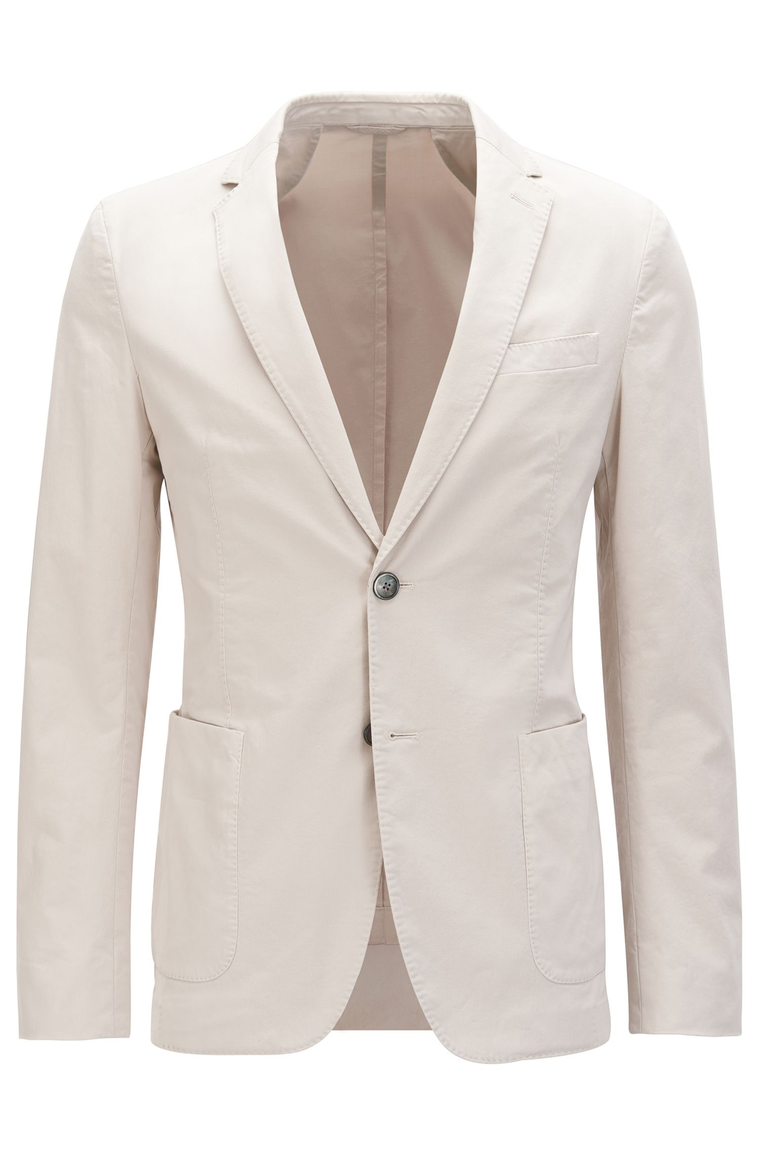 Veste Slim Fit en coton stretch teint en pièce
