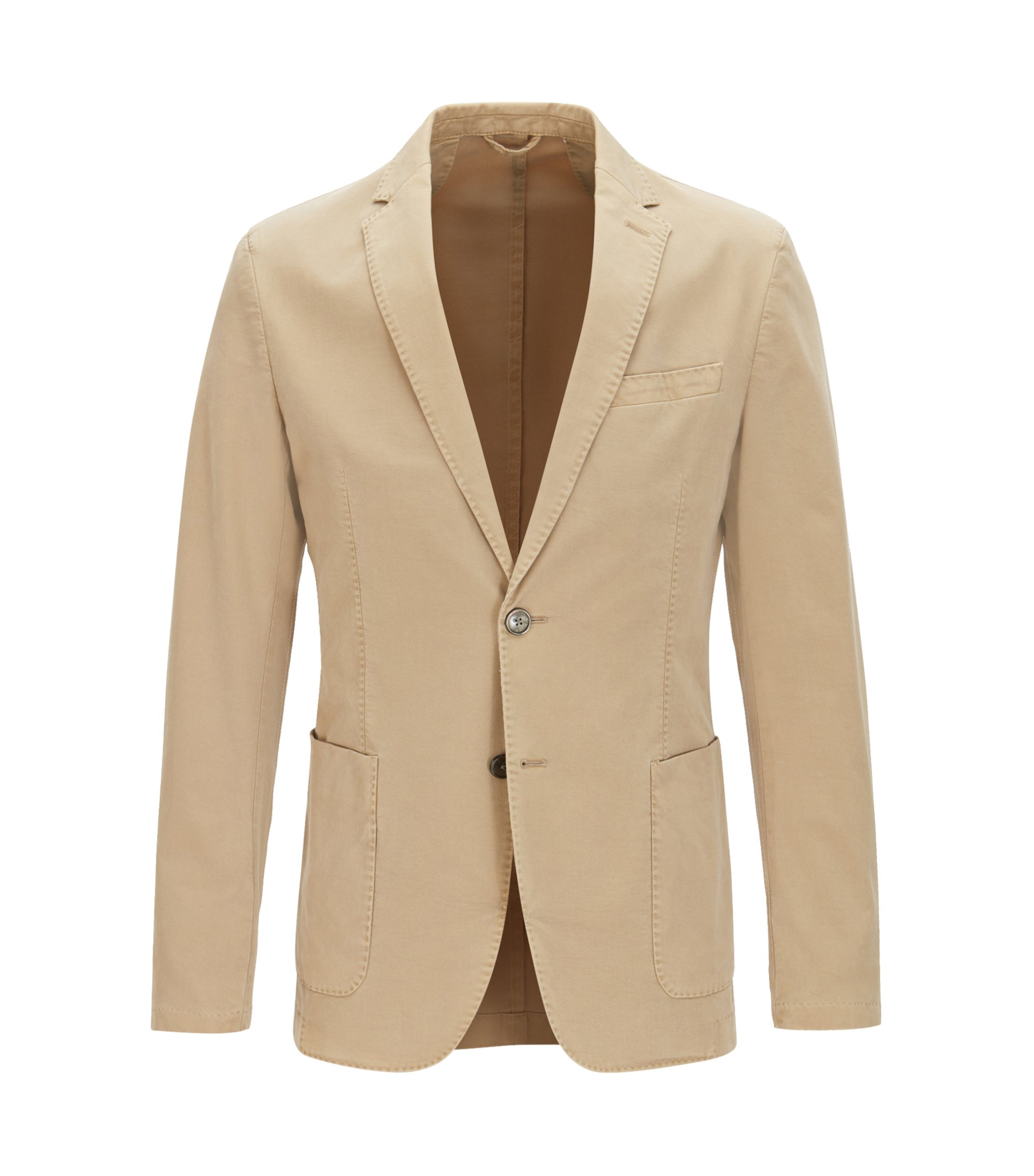Slim-fit jacket in garment-dyed stretch cotton, Beige