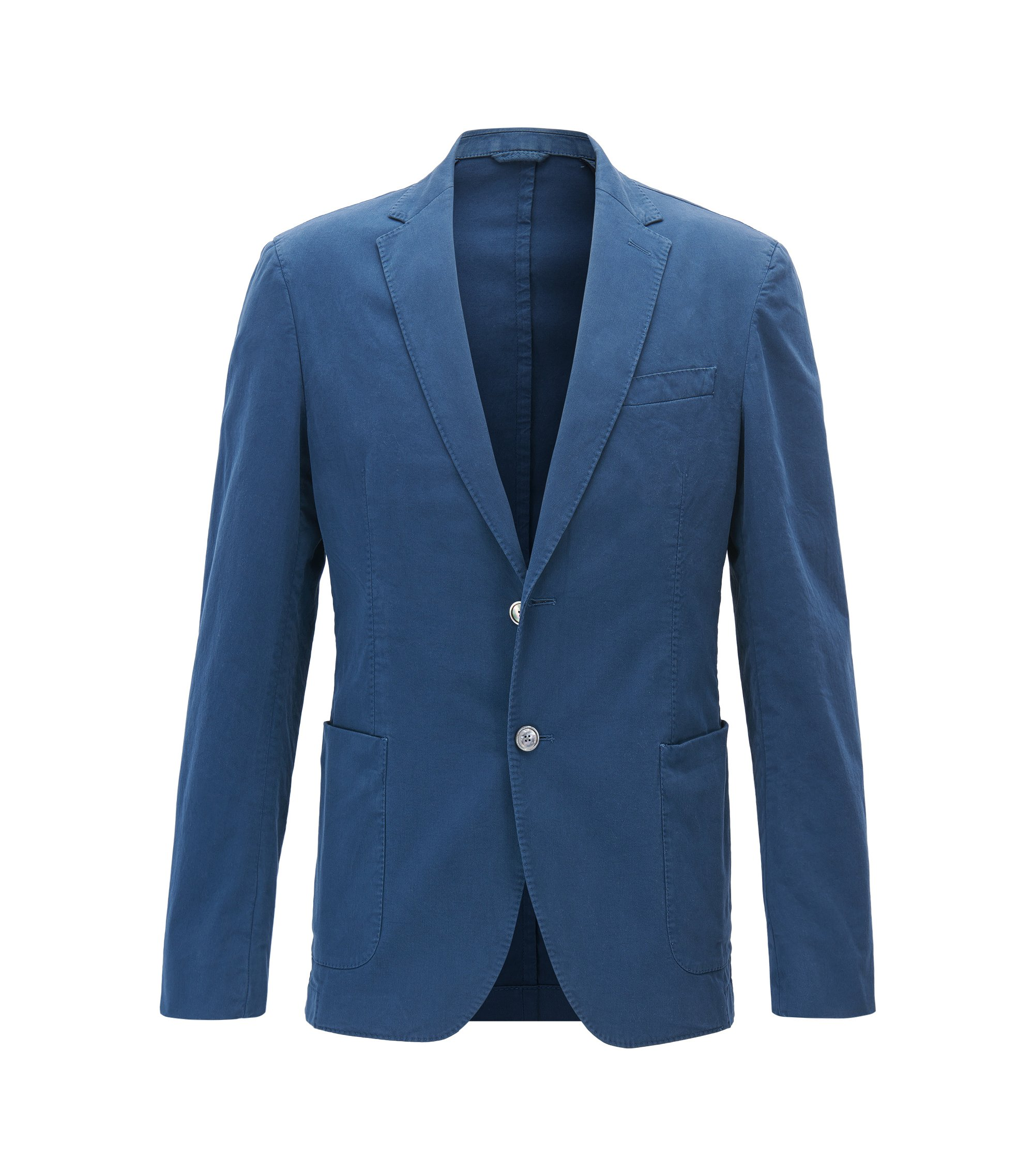 Slim-fit jacket in garment-dyed stretch cotton, Blue