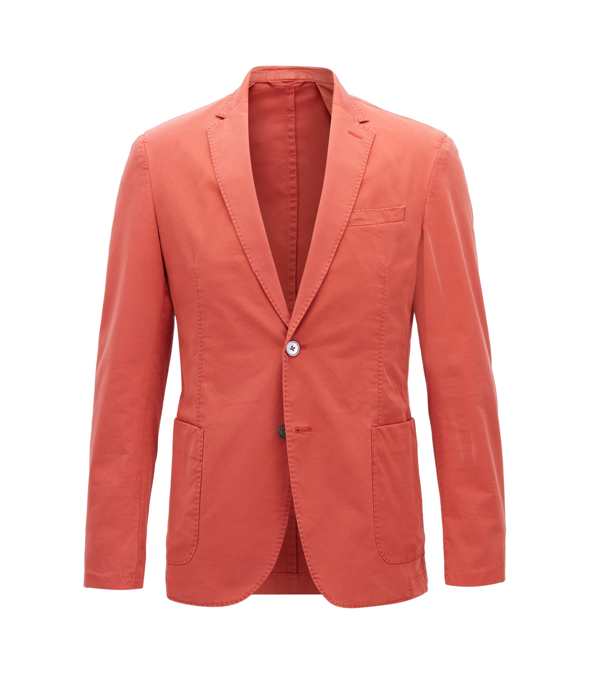 Slim-fit jacket in garment-dyed stretch cotton, Dark Orange