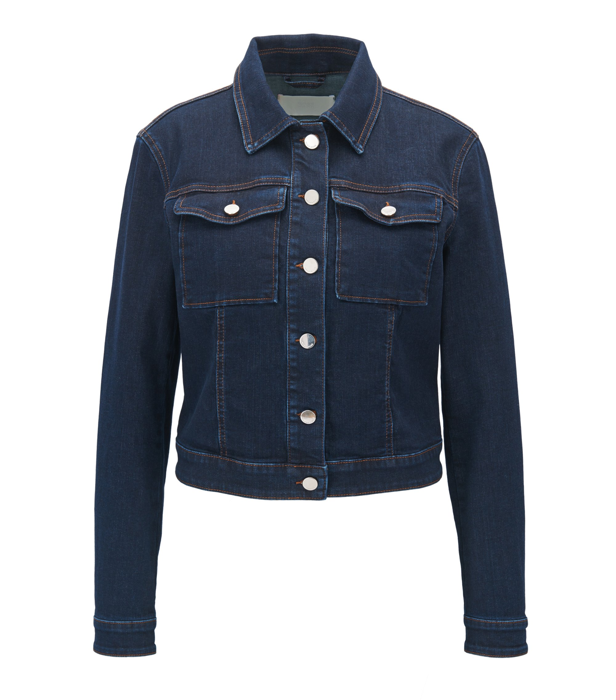 Veste en jean en denim stretch confortable, Bleu foncé