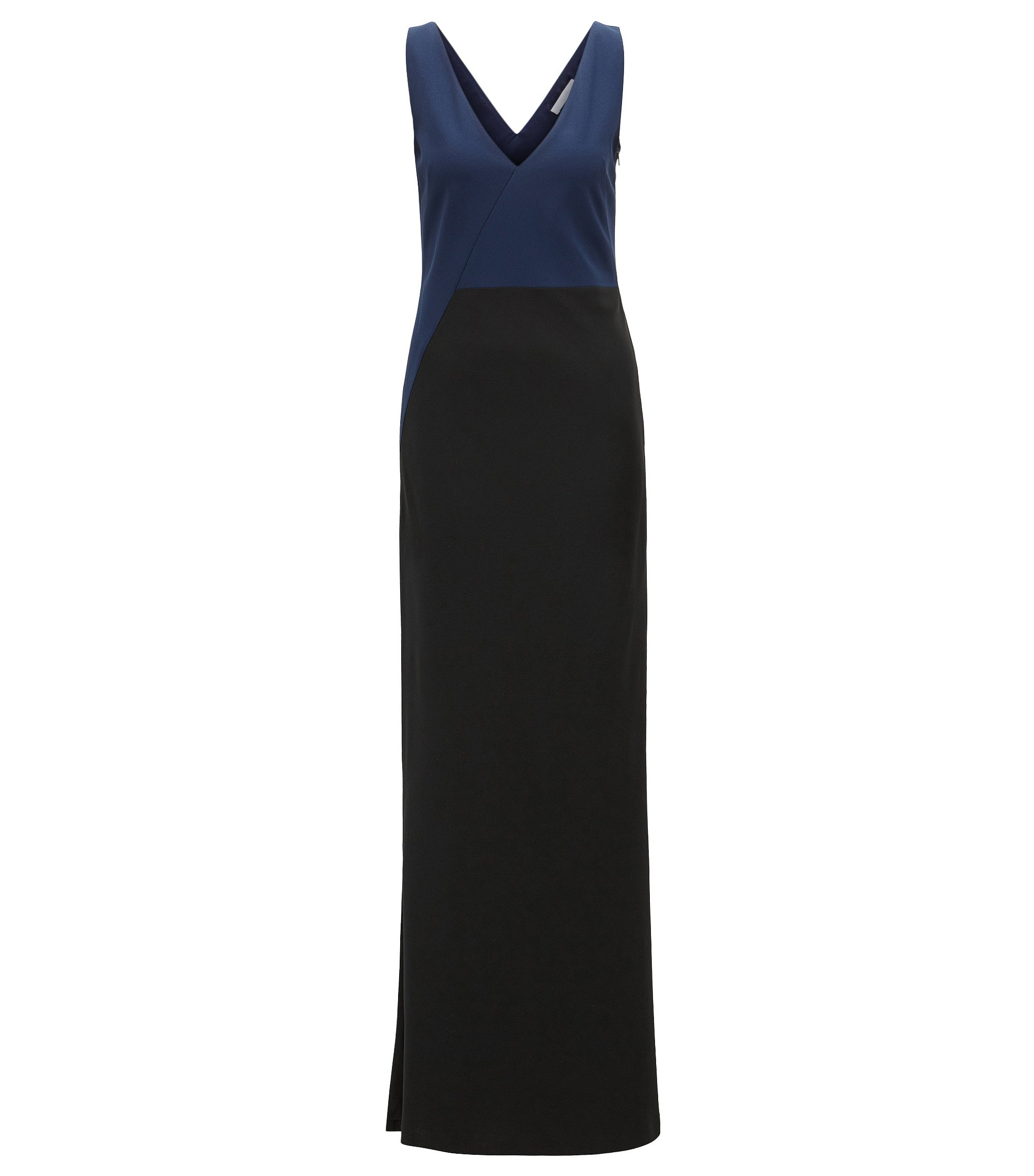 Abendkleid aus Krepp in Colour-Block-Optik mit Satin-Innenseite, Schwarz