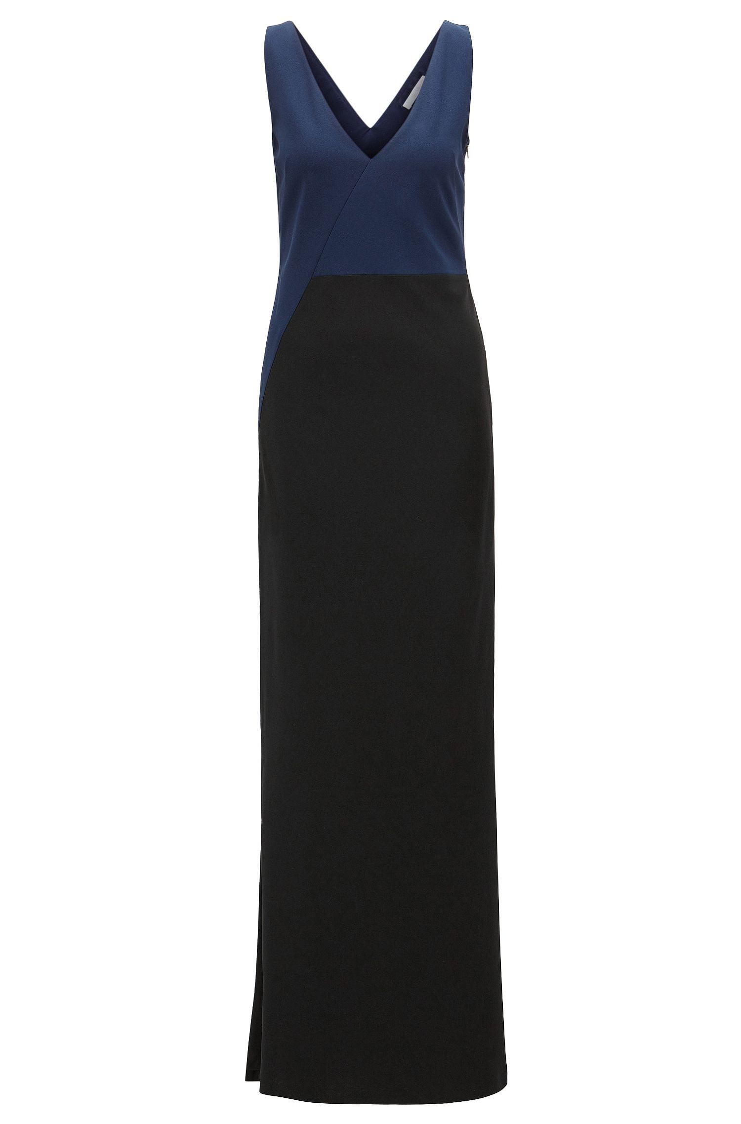 Colourblock evening dress in satinback crêpe
