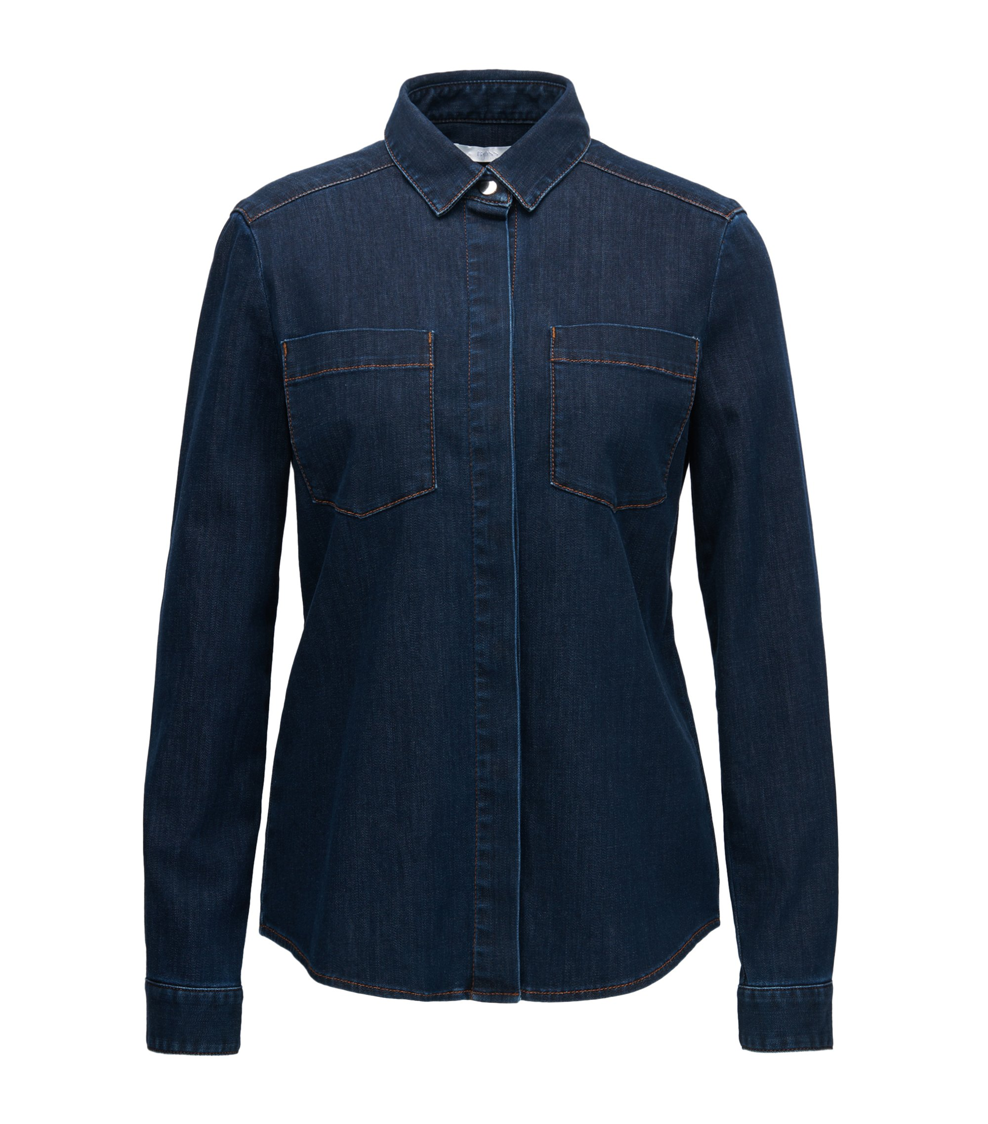 Camisa regular fit en denim calado, Azul oscuro