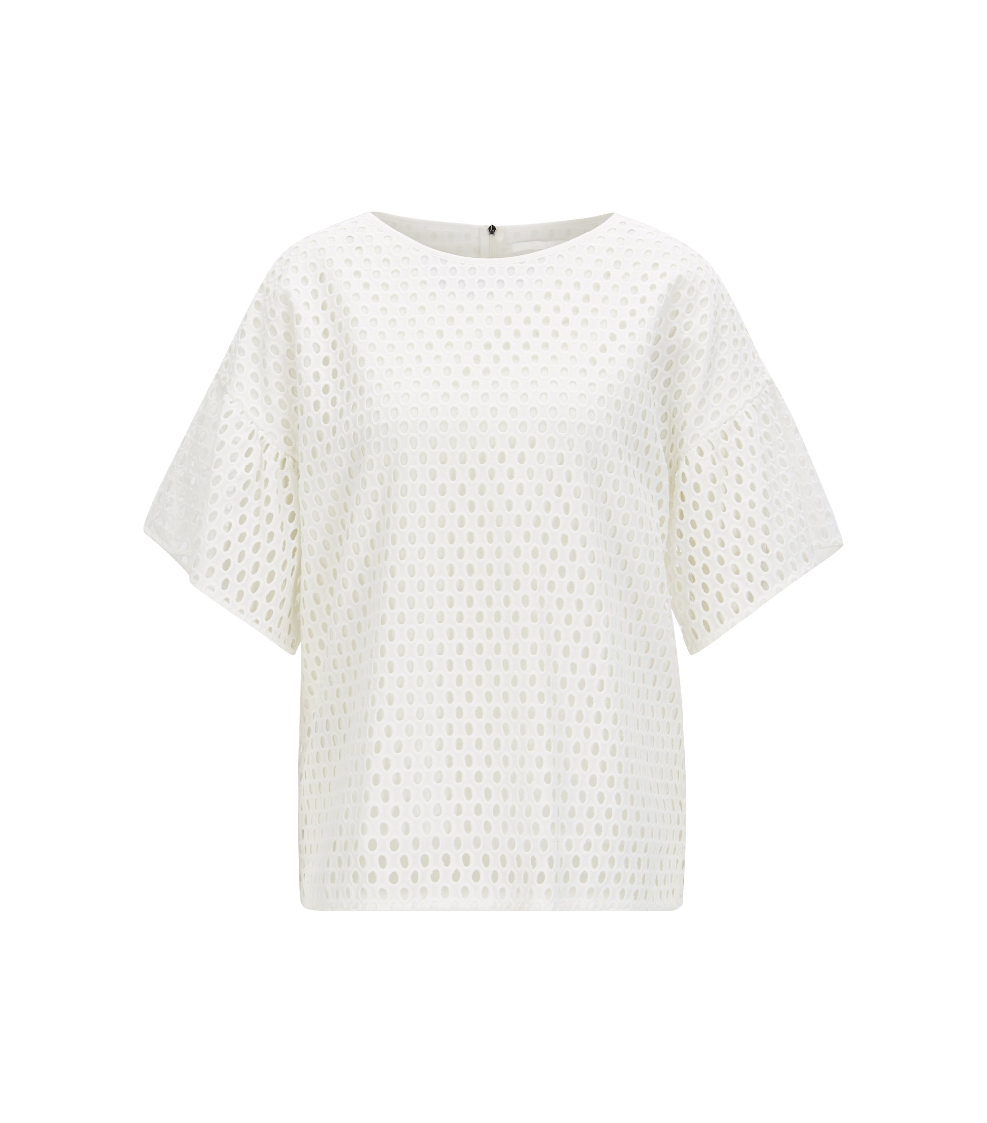 Dropped-shoulder top in cotton broderie anglaise, Natural