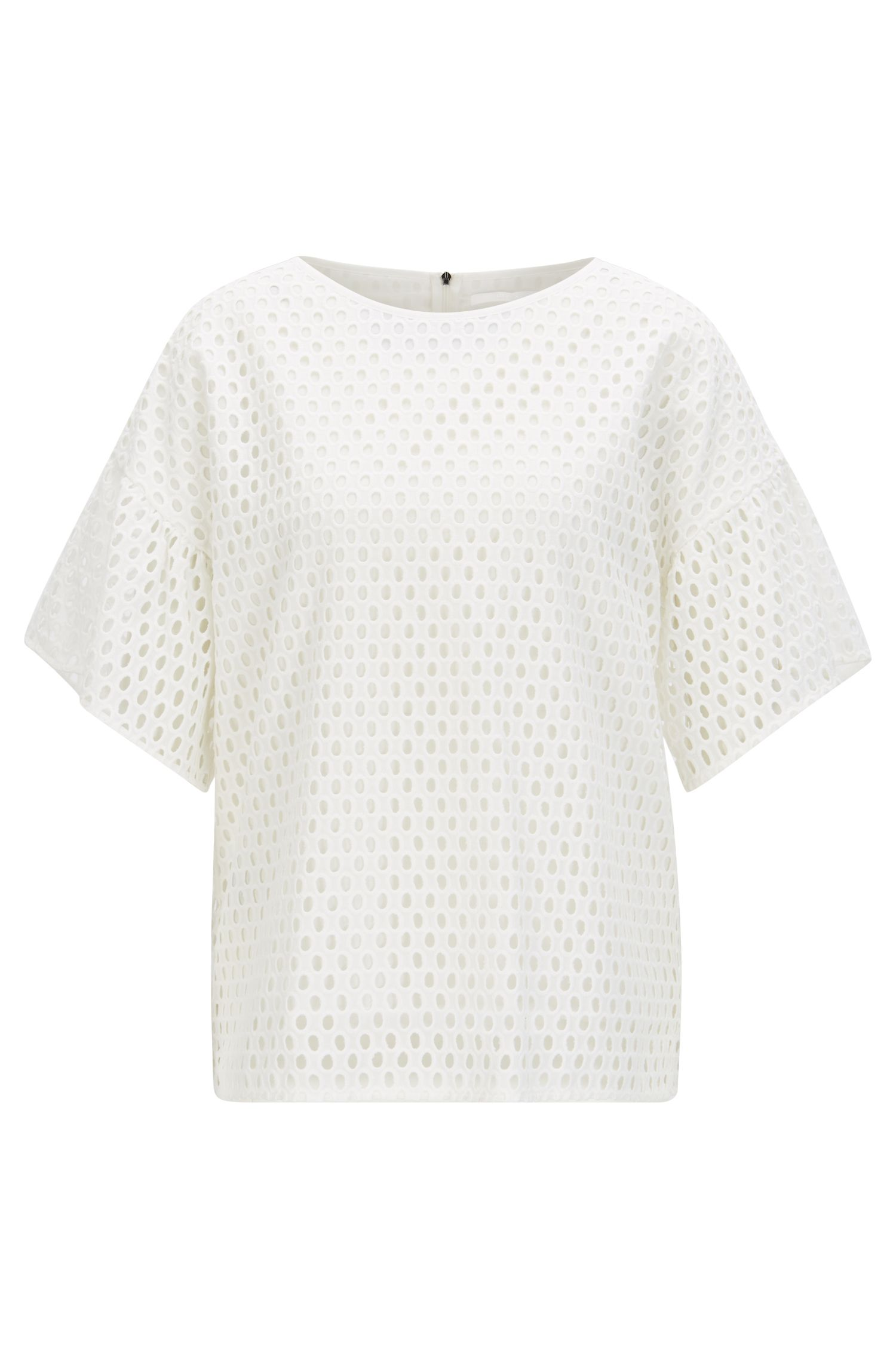 Dropped-shoulder top in cotton broderie anglaise