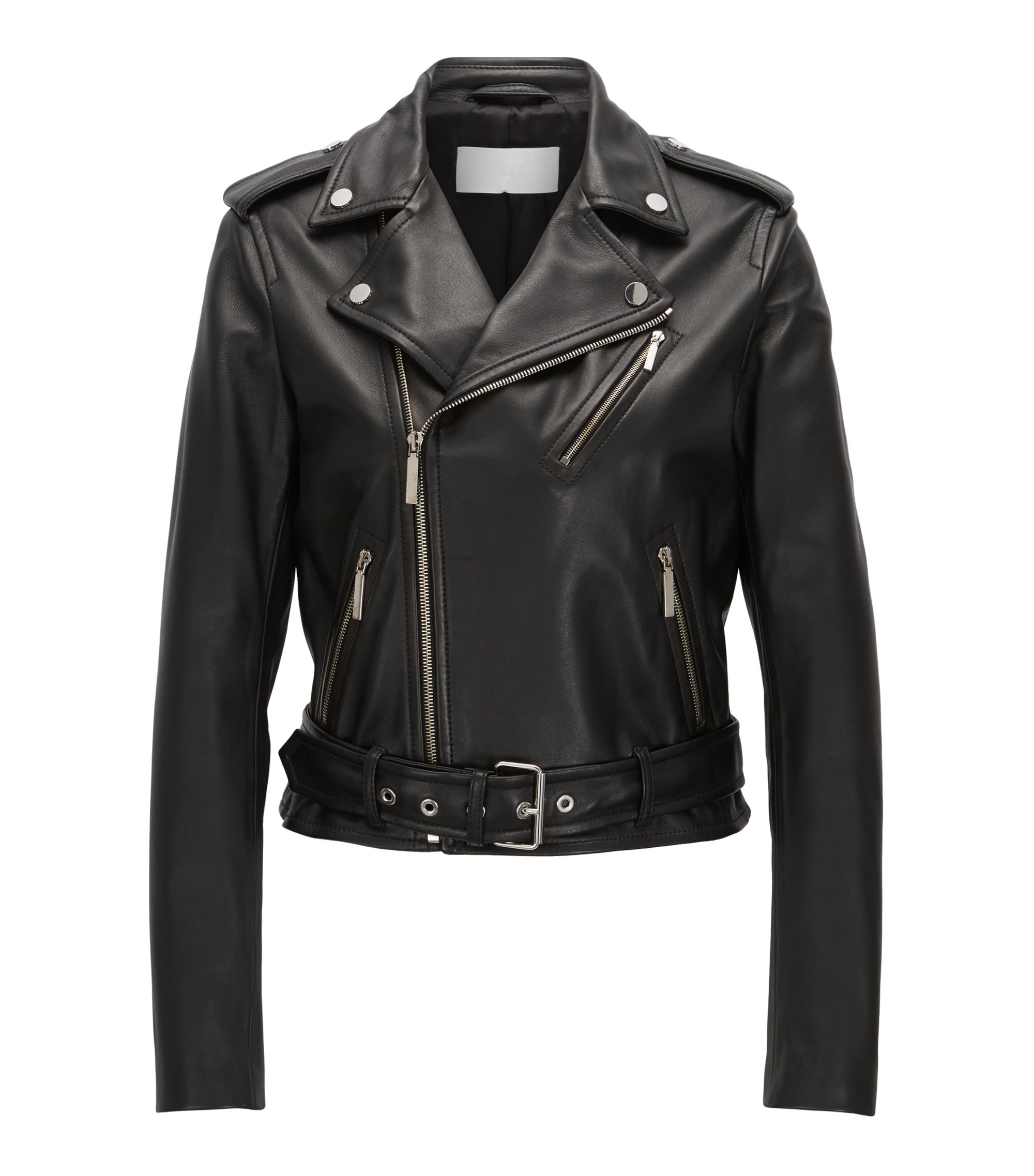 Biker jacket in rich plongé leather, Black