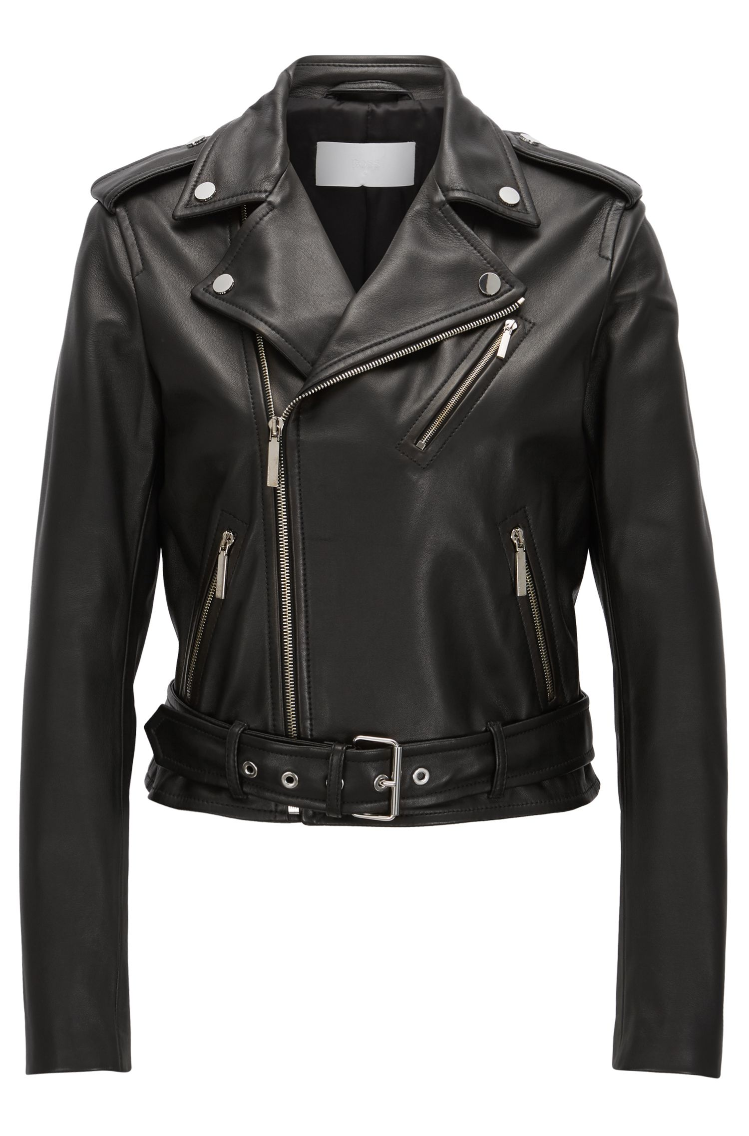Biker jacket in rich plongé leather